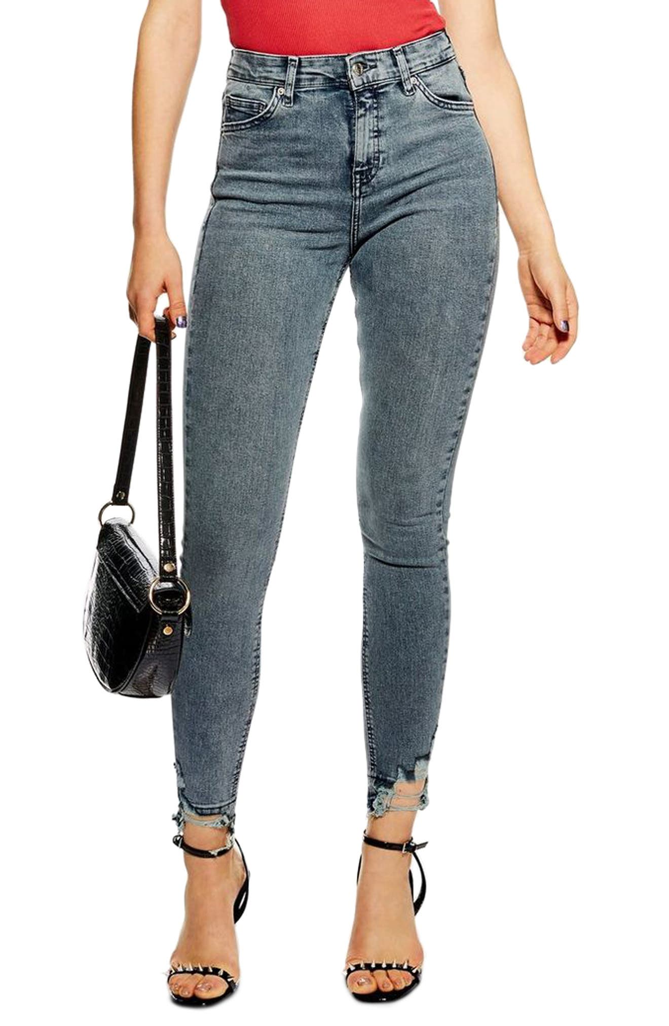 TOPSHOP Jamie Ripped Moto Jeans, Main, color, GREY