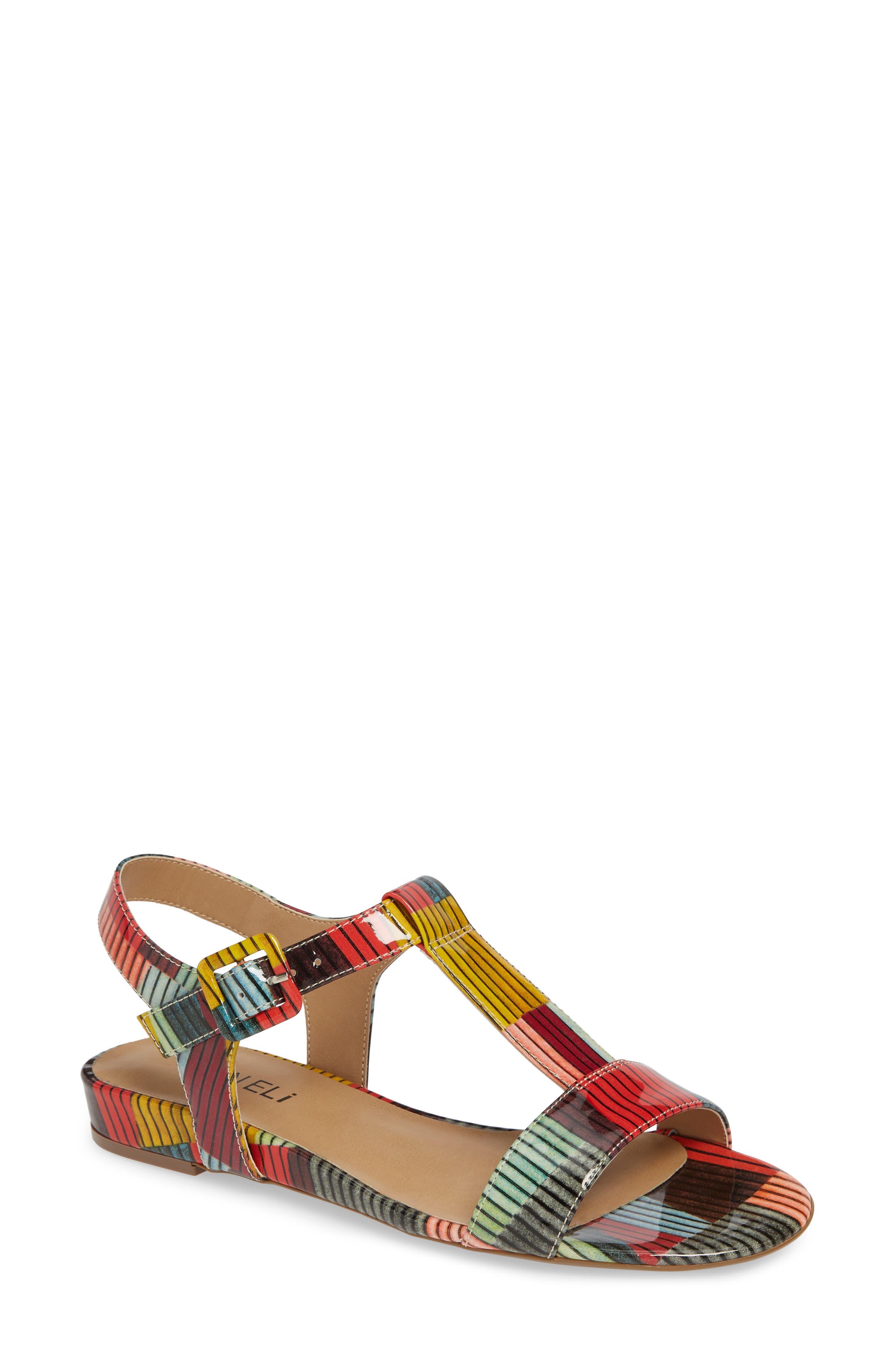 VANELI, Burlie T-Strap Sandal, Main thumbnail 1, color, MULTICOLOR PATENT LEATHER