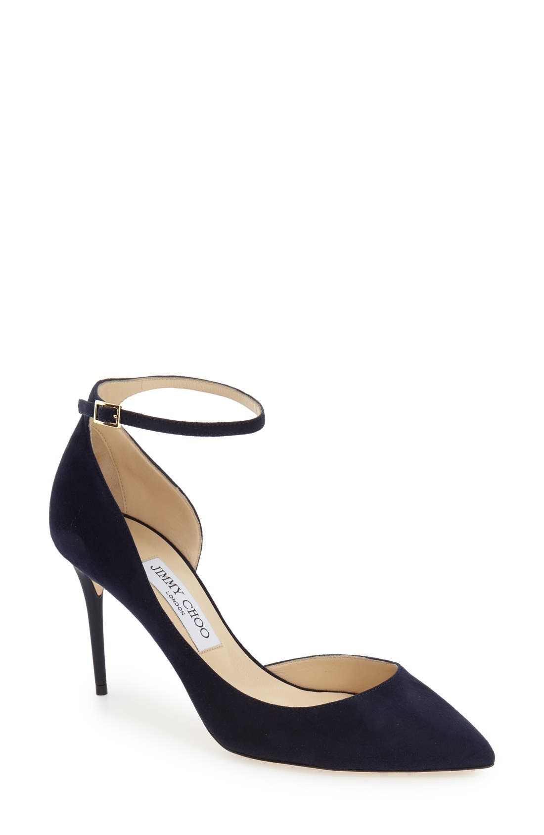 JIMMY CHOO, 'Lucy' Half d'Orsay Pointy Toe Pump, Main thumbnail 1, color, 410