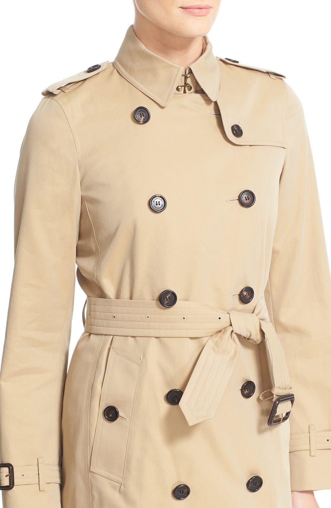 BURBERRY, Kensington Long Trench Coat, Alternate thumbnail 3, color, HONEY
