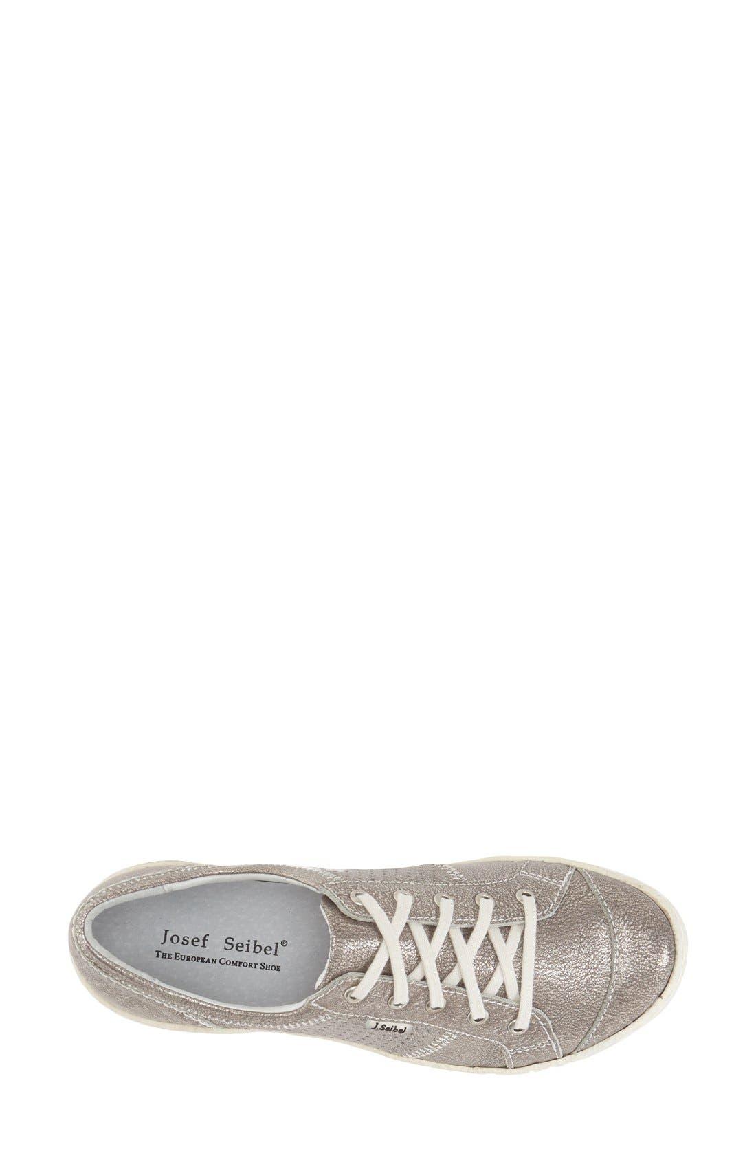JOSEF SEIBEL, 'Caspian' Sneaker, Alternate thumbnail 3, color, PLATINUM METALLIC LEATHER