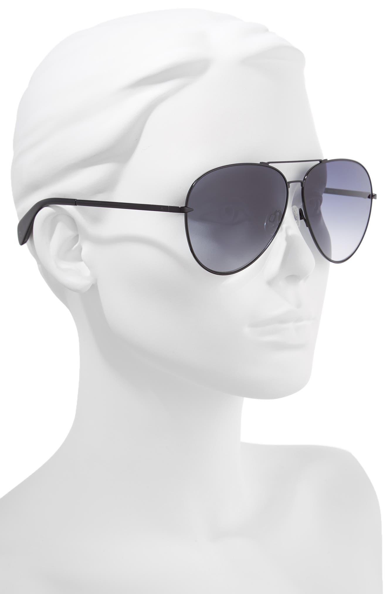 RAG & BONE, 63mm Oversize Aviator Sunglasses, Alternate thumbnail 2, color, BLACK