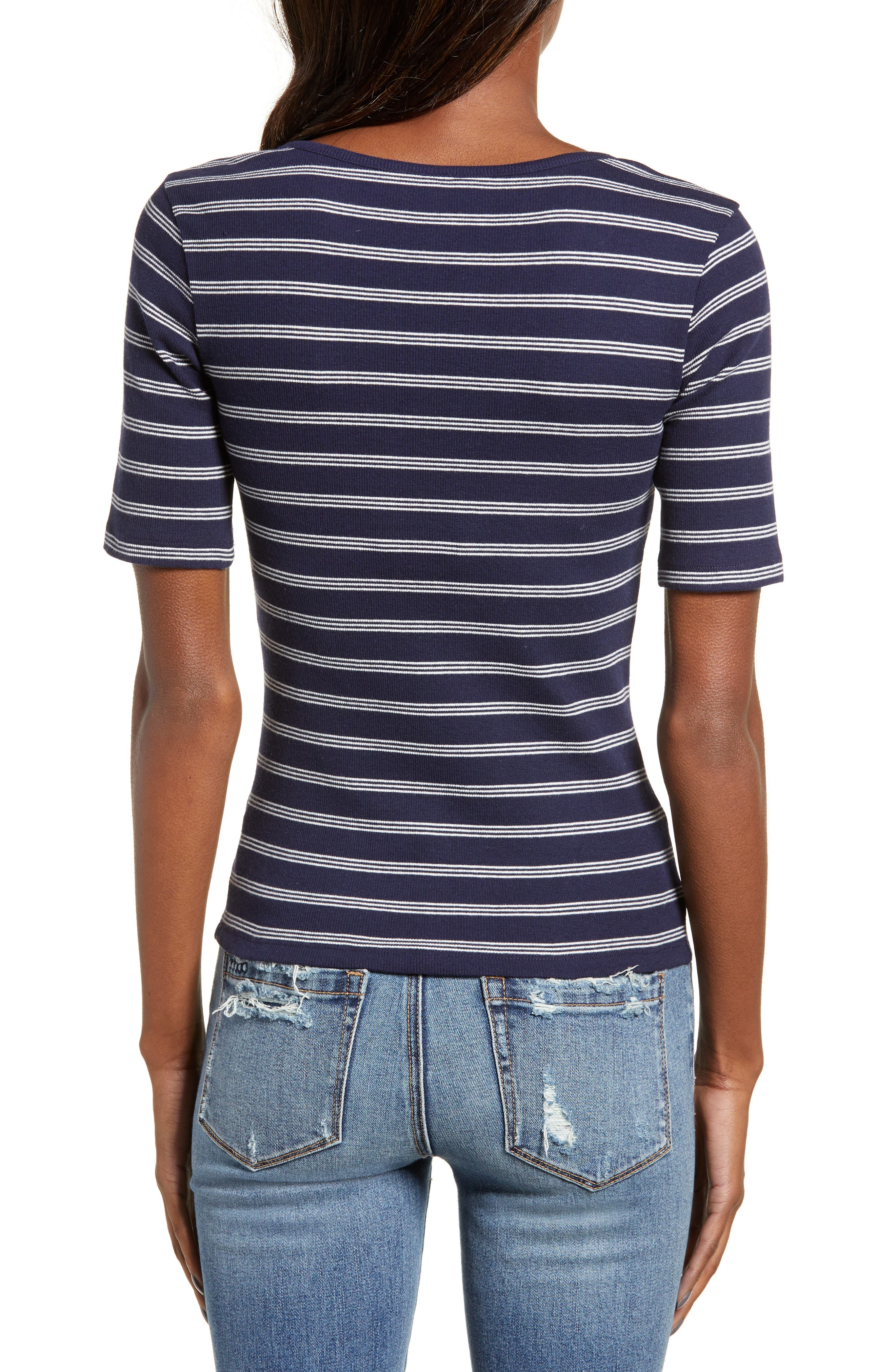 BP., Ribbed Henley Tee, Alternate thumbnail 3, color, NAVY EVENING NANTUCKET STRIPE