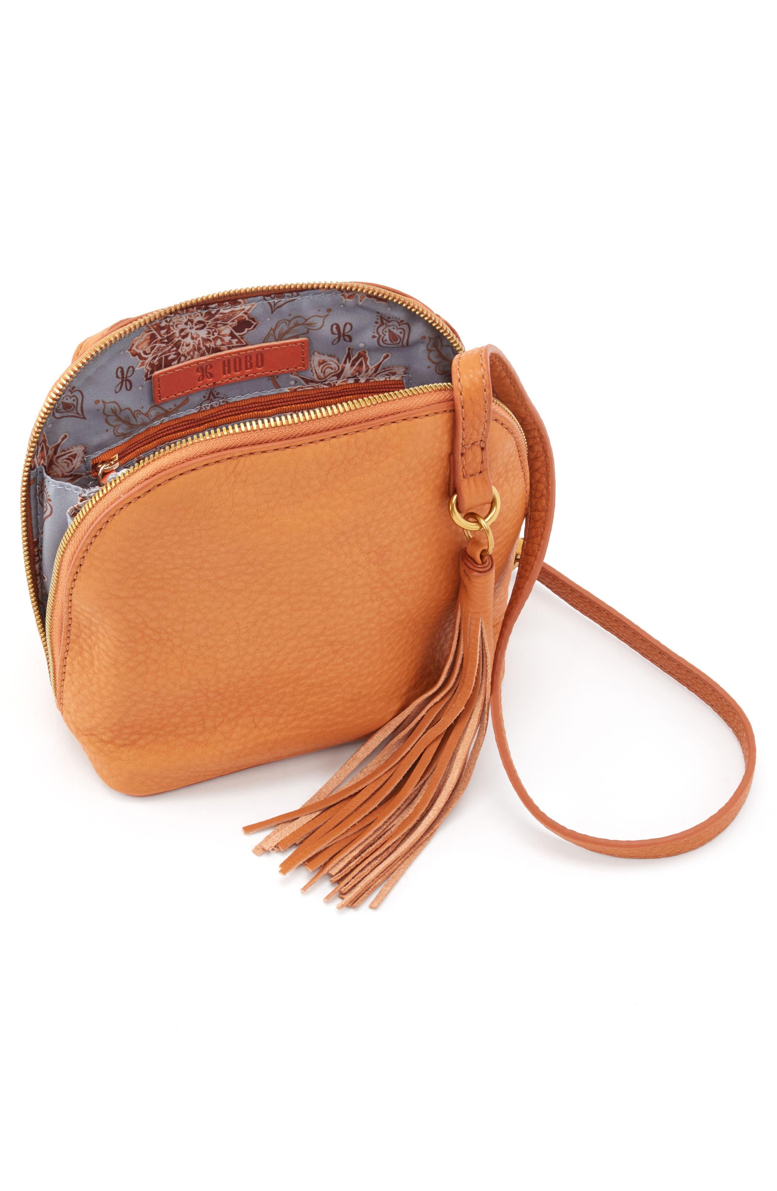 HOBO, Nash Calfskin Leather Crossbody Bag, Alternate thumbnail 3, color, WHISKEY