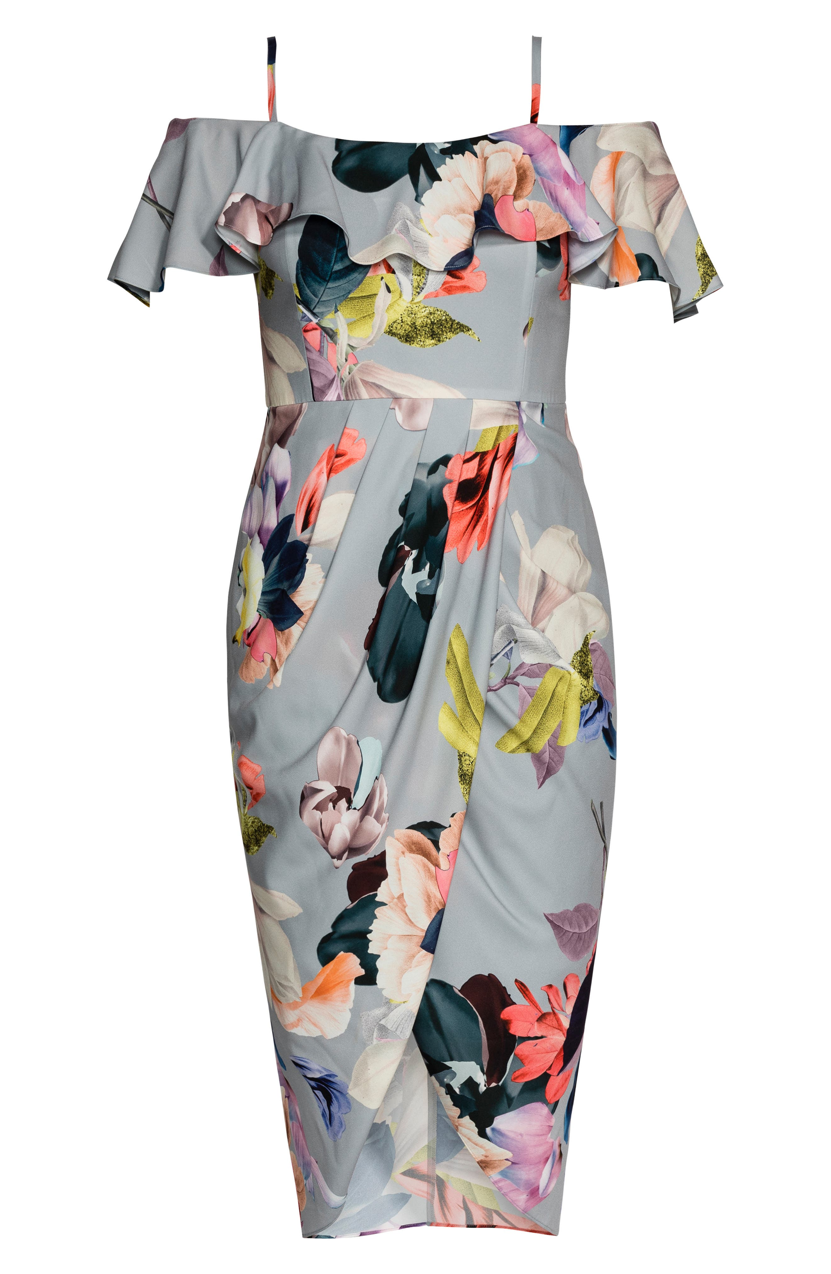 CITY CHIC, Contempo Cold Shoulder Floral Dress, Alternate thumbnail 3, color, CONTEMPORARY FL