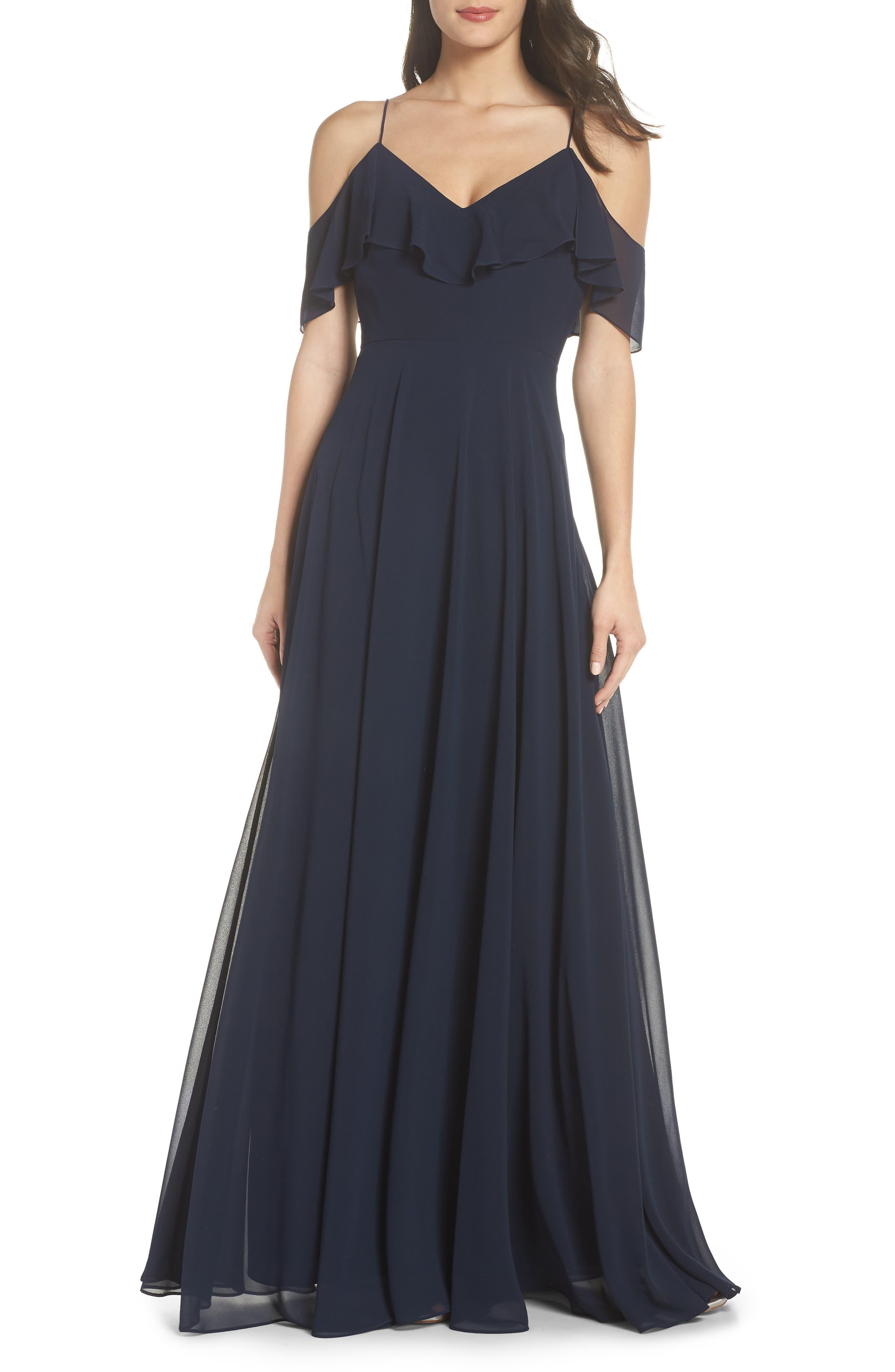 JENNY YOO, Cold Shoulder Chiffon Gown, Main thumbnail 1, color, NAVY