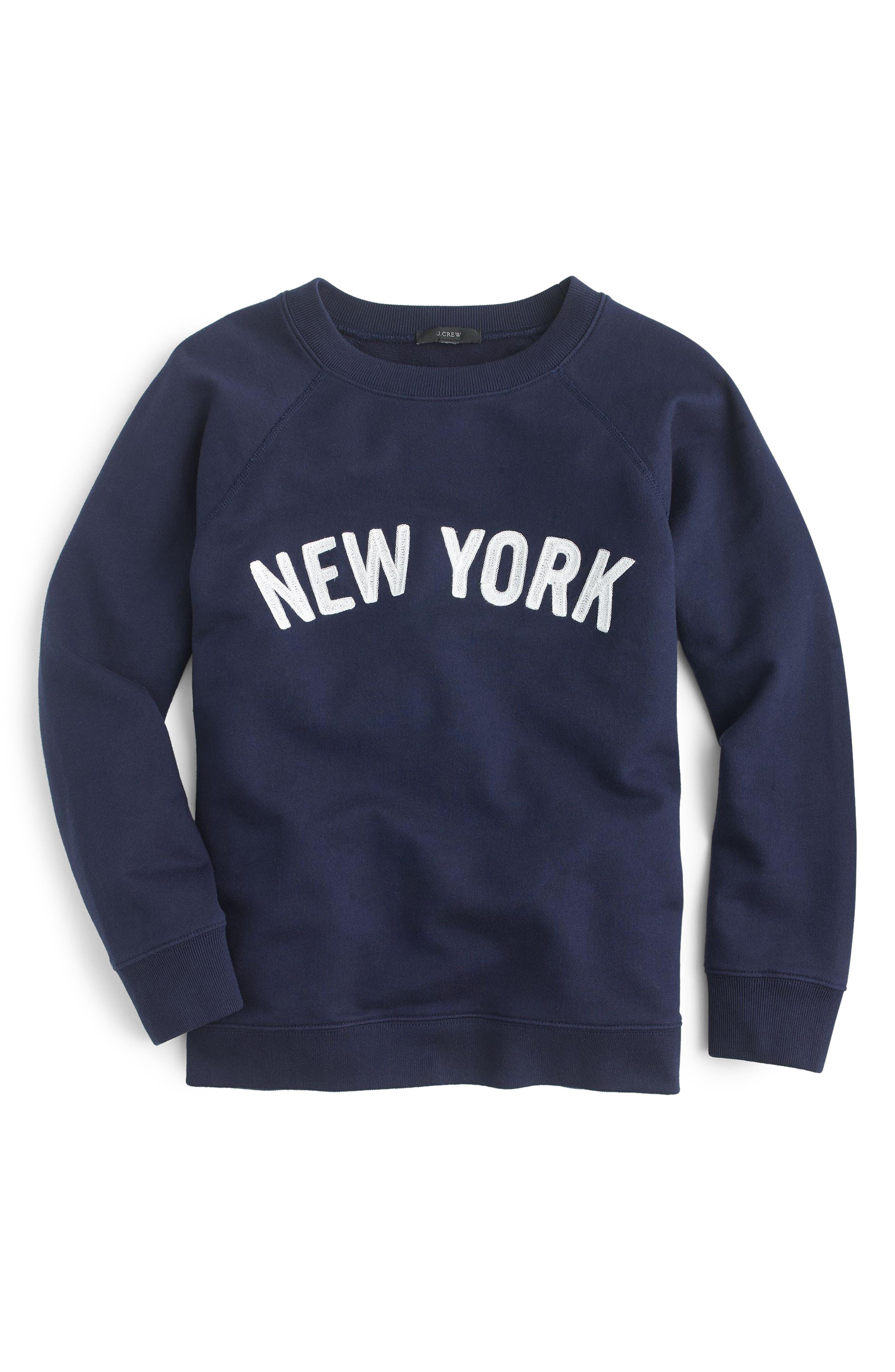 J.CREW, New York Sweatshirt, Alternate thumbnail 2, color, NAVY