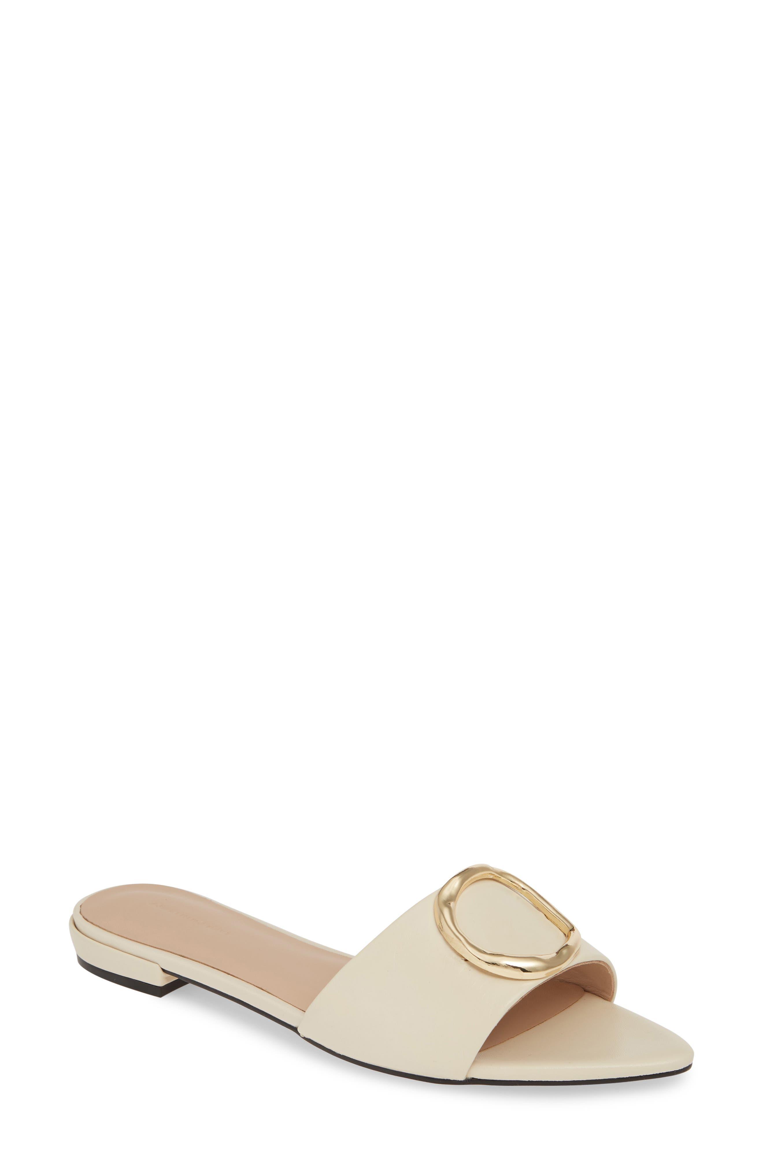 SOMETHING NAVY Cassie Pointy Toe Slide Sandal, Main, color, BONE LEATHER