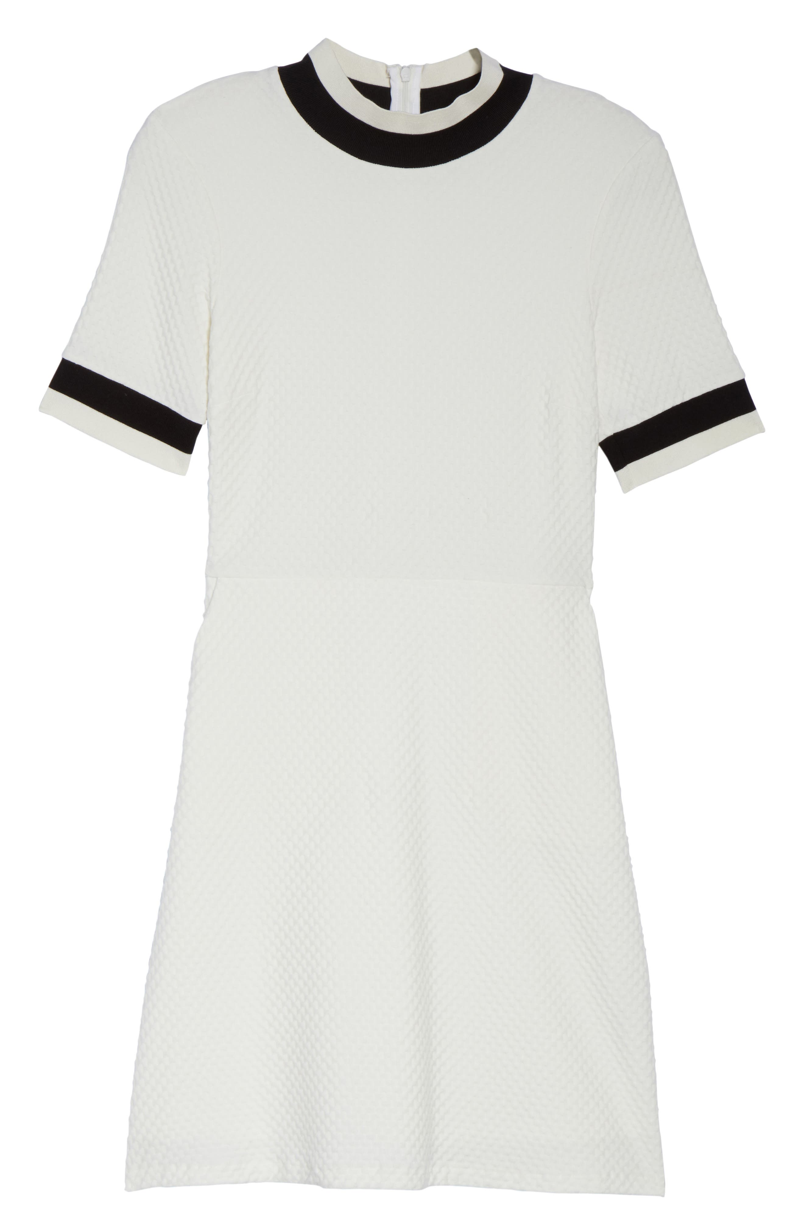 FRENCH CONNECTION, Savos Sudan Jersey Dress, Alternate thumbnail 7, color, BLACK/ SUMMER WHITE