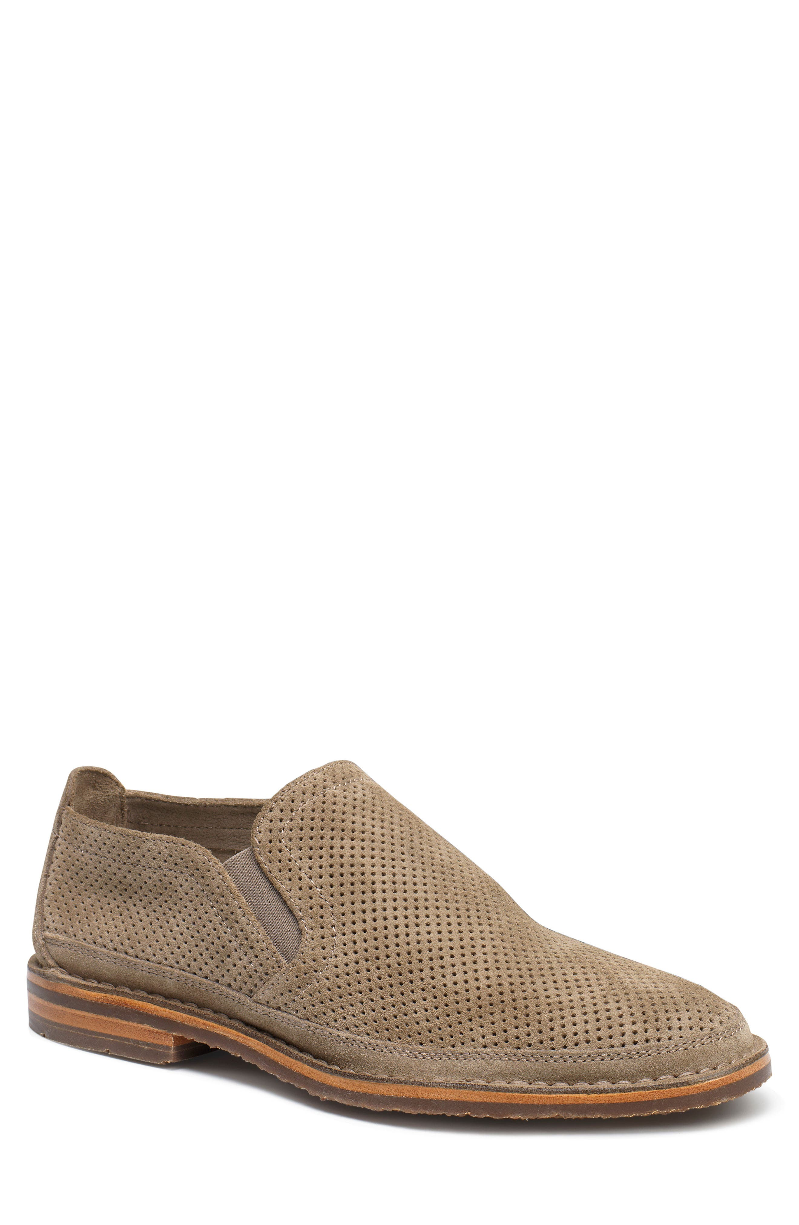 TRASK, Bradley Perforated Slip-On, Main thumbnail 1, color, TAUPE SUEDE