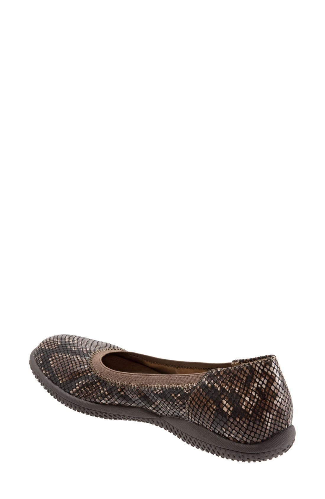 SOFTWALK<SUP>®</SUP>, 'Hampshire' Dot Perforated Ballet Flat, Alternate thumbnail 2, color, BROWN PYTHON PRINT LEATHER