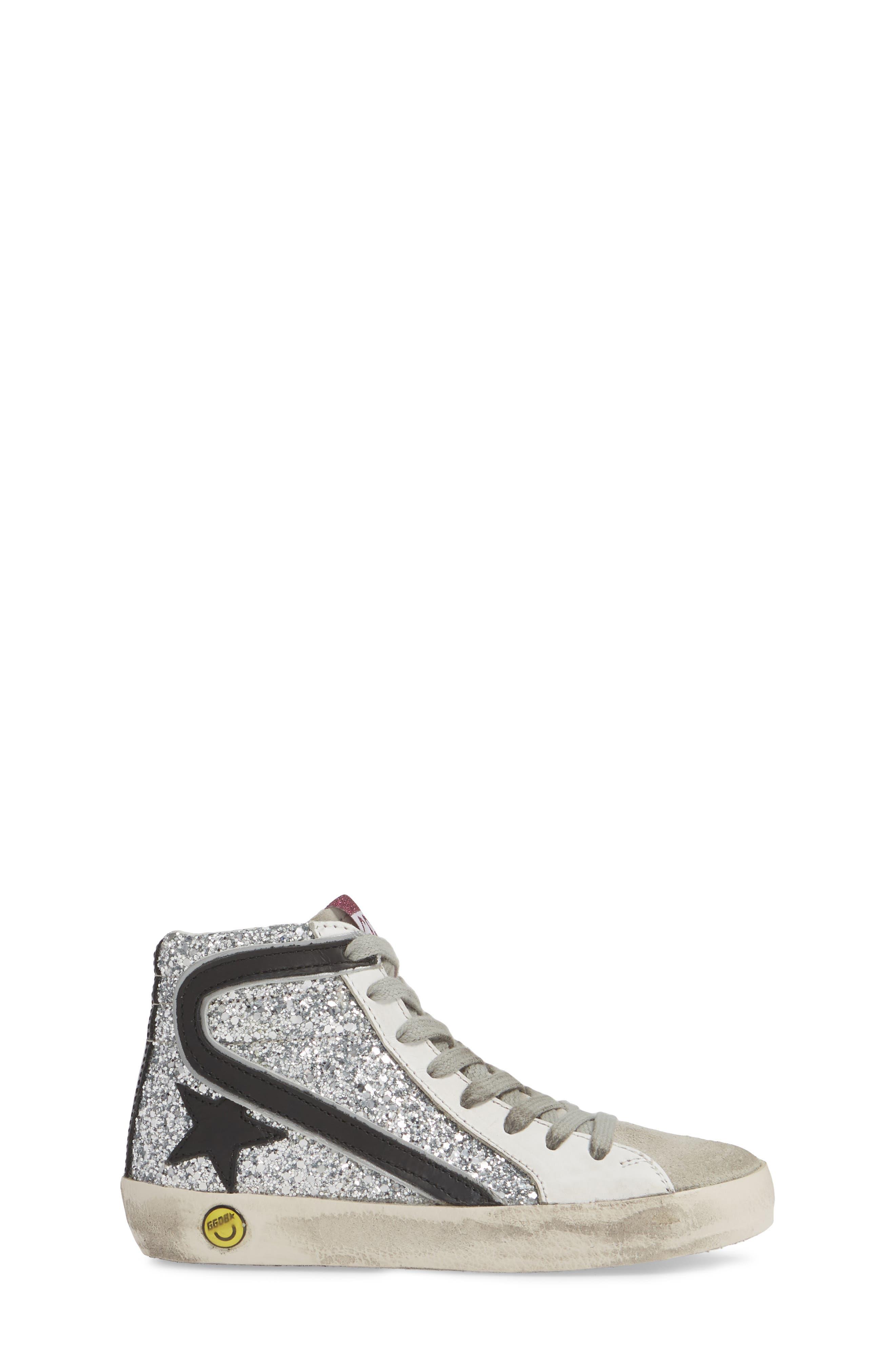 GOLDEN GOOSE, Slide Glitter High Top Sneaker, Alternate thumbnail 3, color, SILVER GLITTER/ BLACK SLIDE
