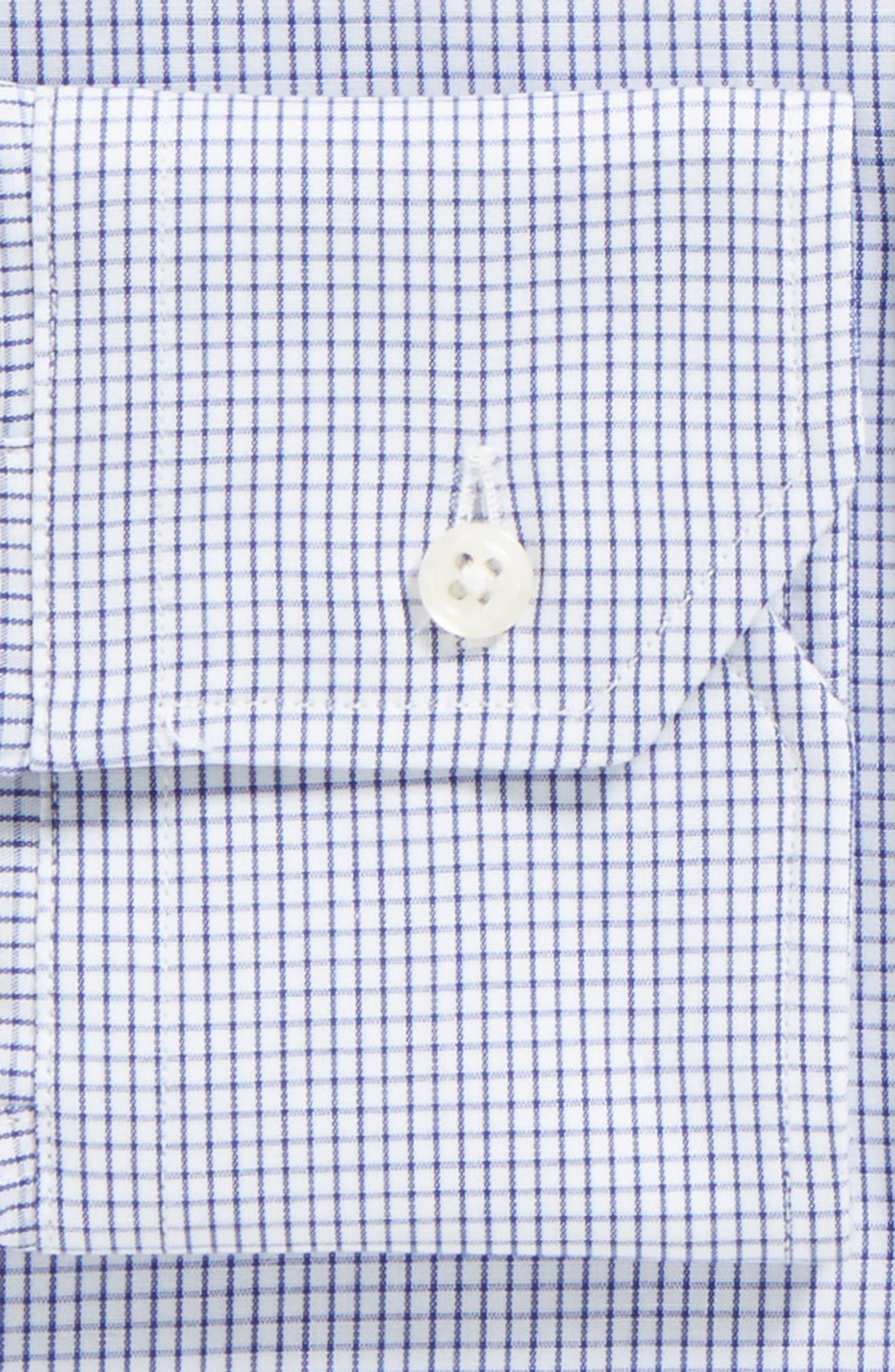 GITMAN, Tailored Fit Gingham Dress Shirt, Alternate thumbnail 3, color, NAVY