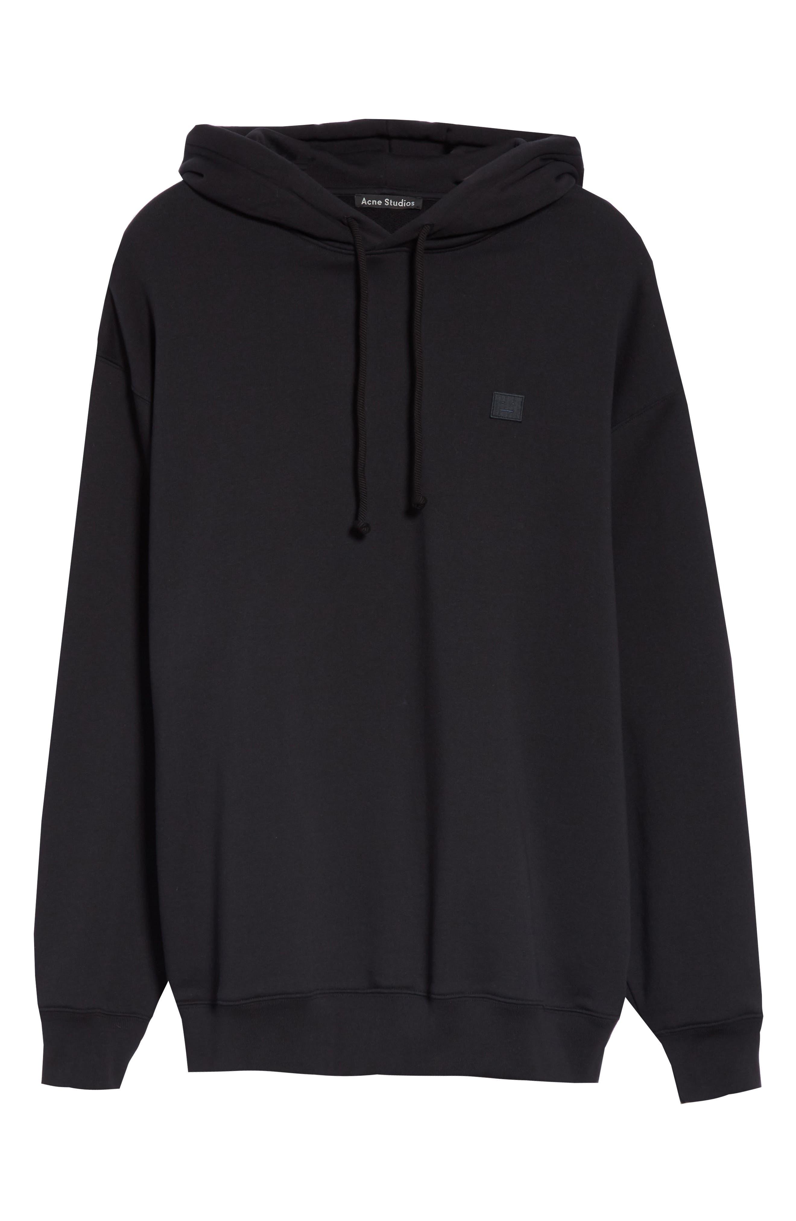 ACNE STUDIOS, Farrin Face Hooded Sweatshirt, Alternate thumbnail 6, color, BLACK