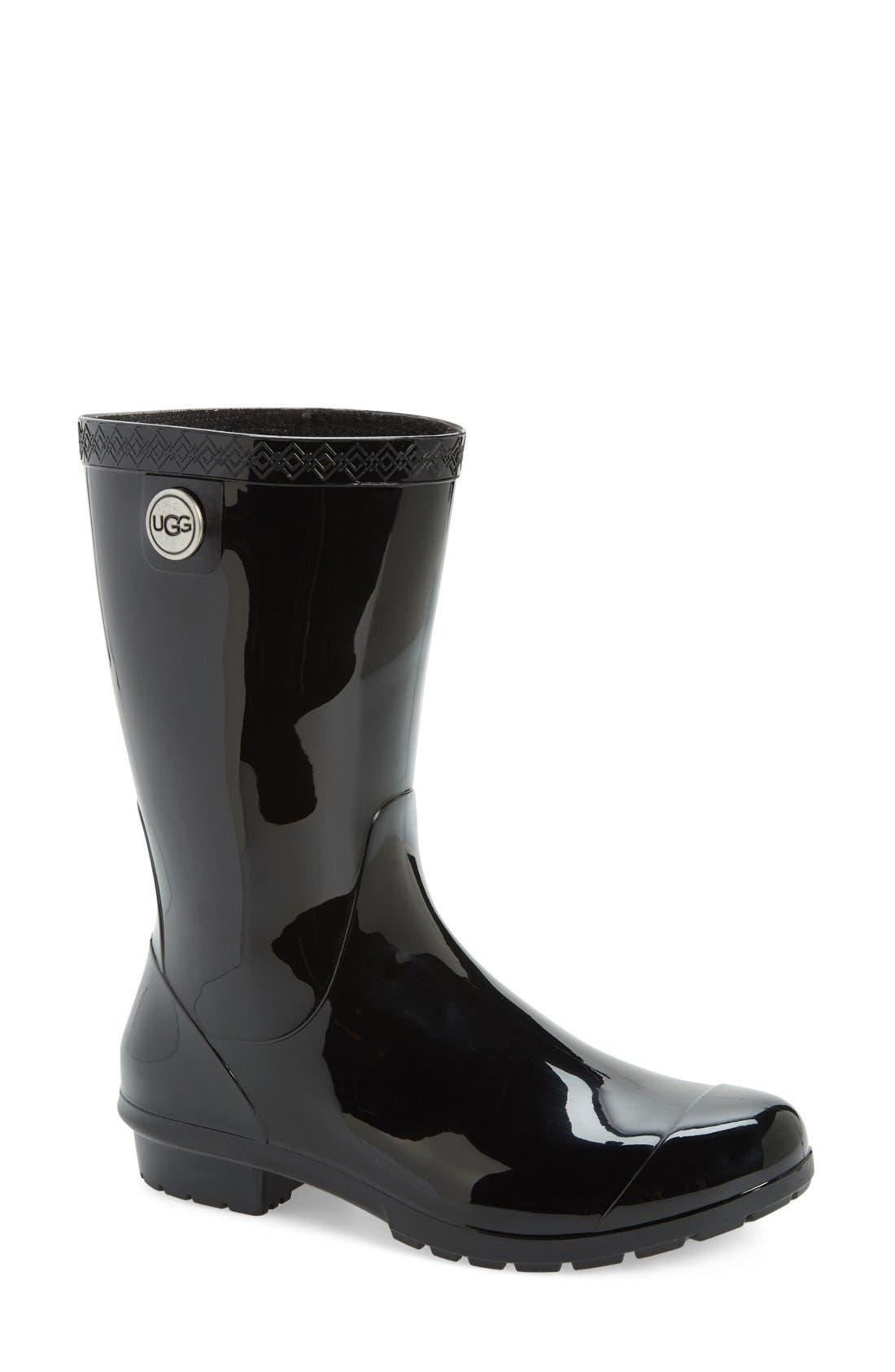 UGG<SUP>®</SUP>, Sienna Rain Boot, Main thumbnail 1, color, BLACK