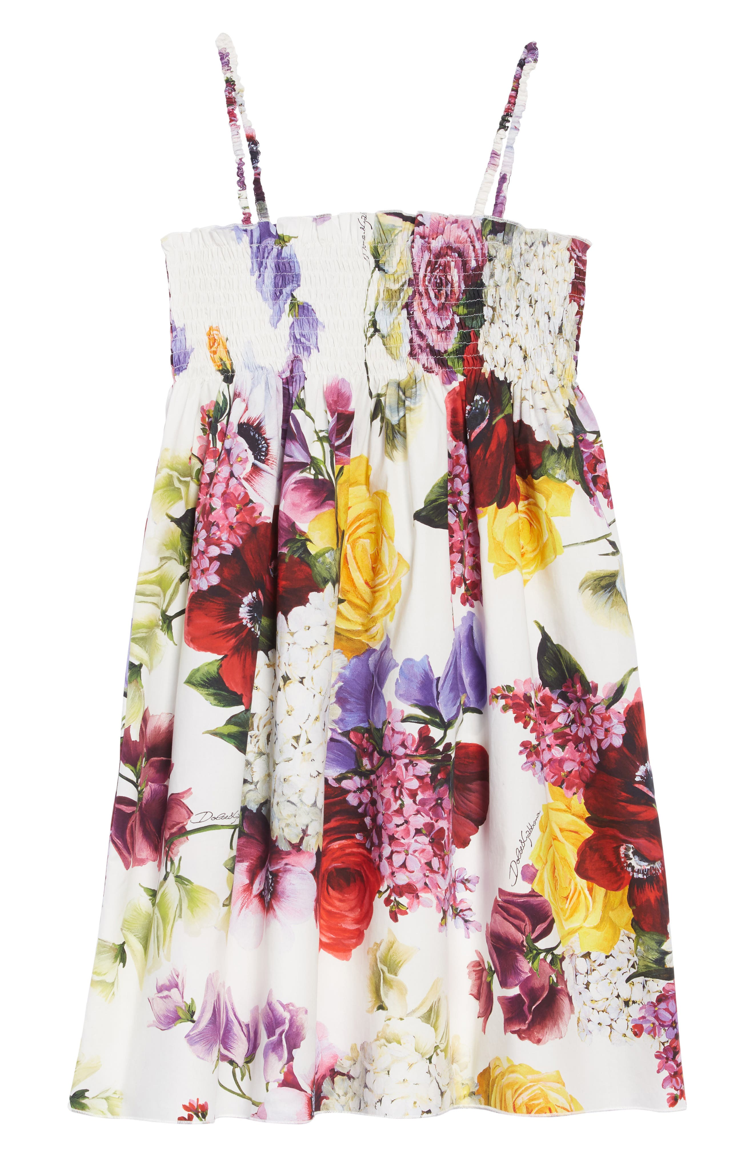 DOLCE&GABBANA, Abito Senza Maniche Dress, Main thumbnail 1, color, ORTENSIE/ FIORI F.NAT
