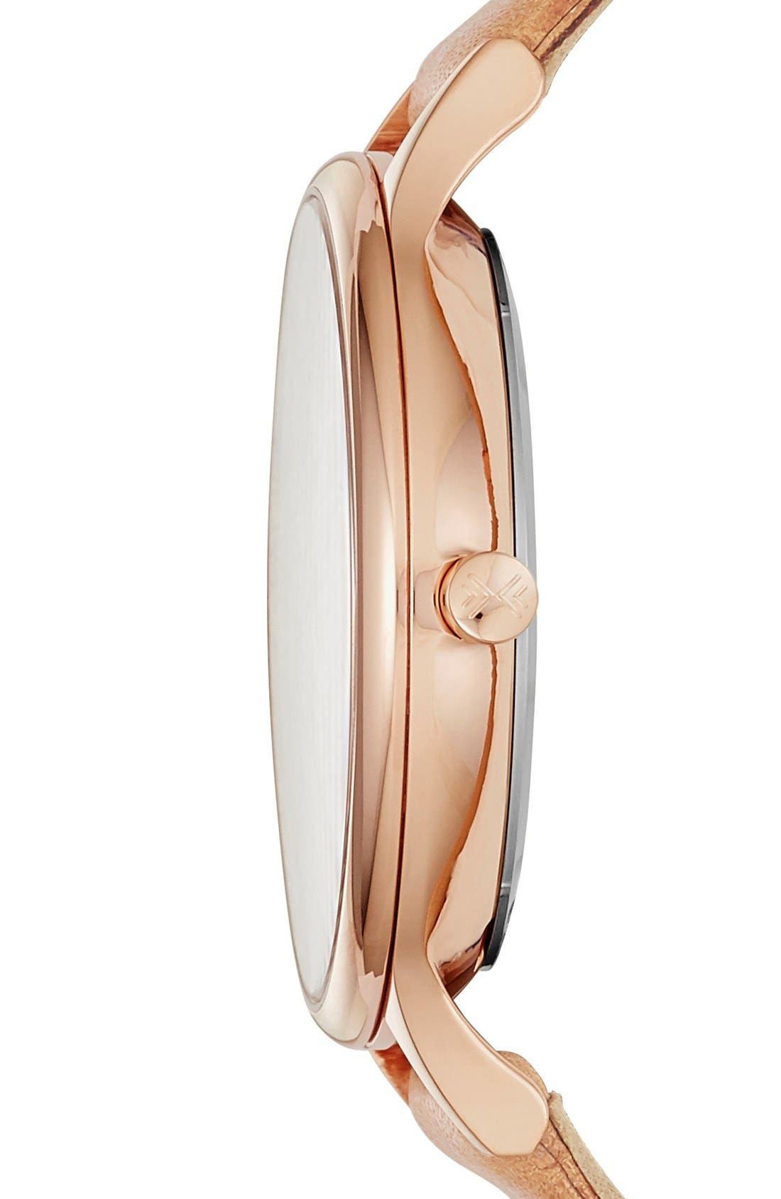 SKAGEN, 'Anita' Leather Strap Watch, 34mm, Alternate thumbnail 3, color, BROWN/ ROSE GOLD/ WHITE