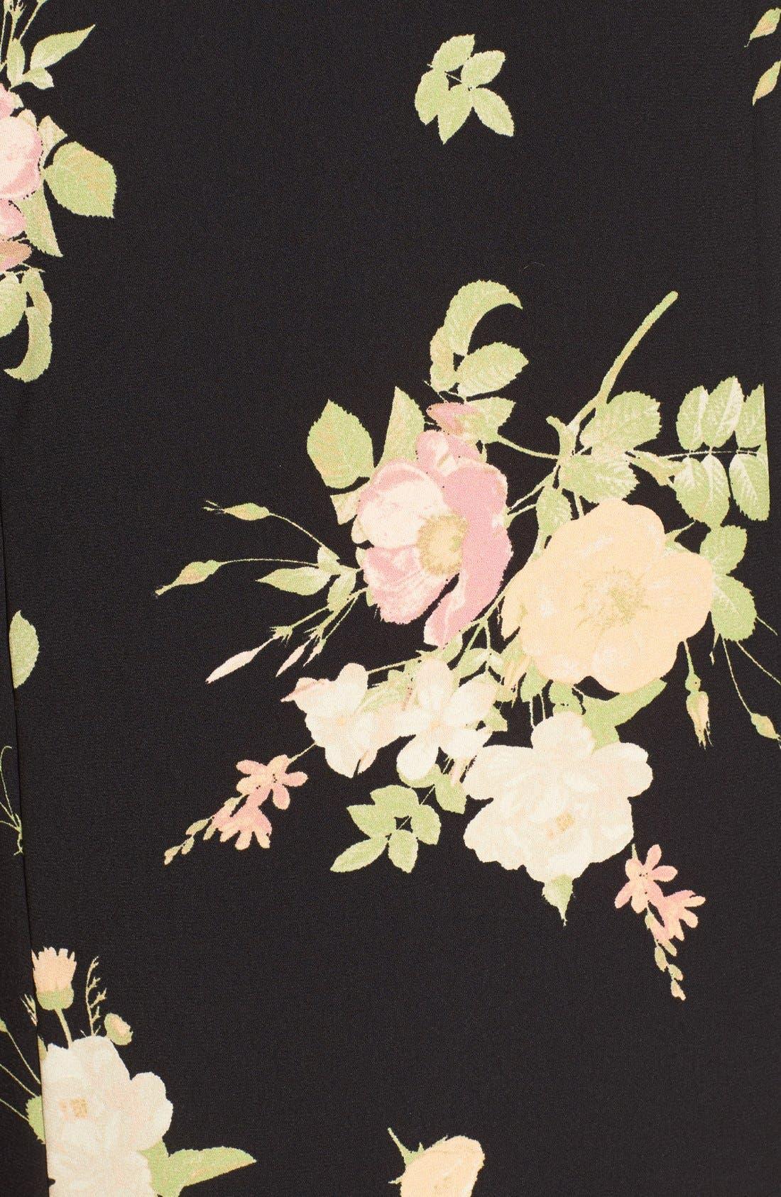 LEITH, Floral Print Mock Neck Shift Dress, Alternate thumbnail 5, color, 001