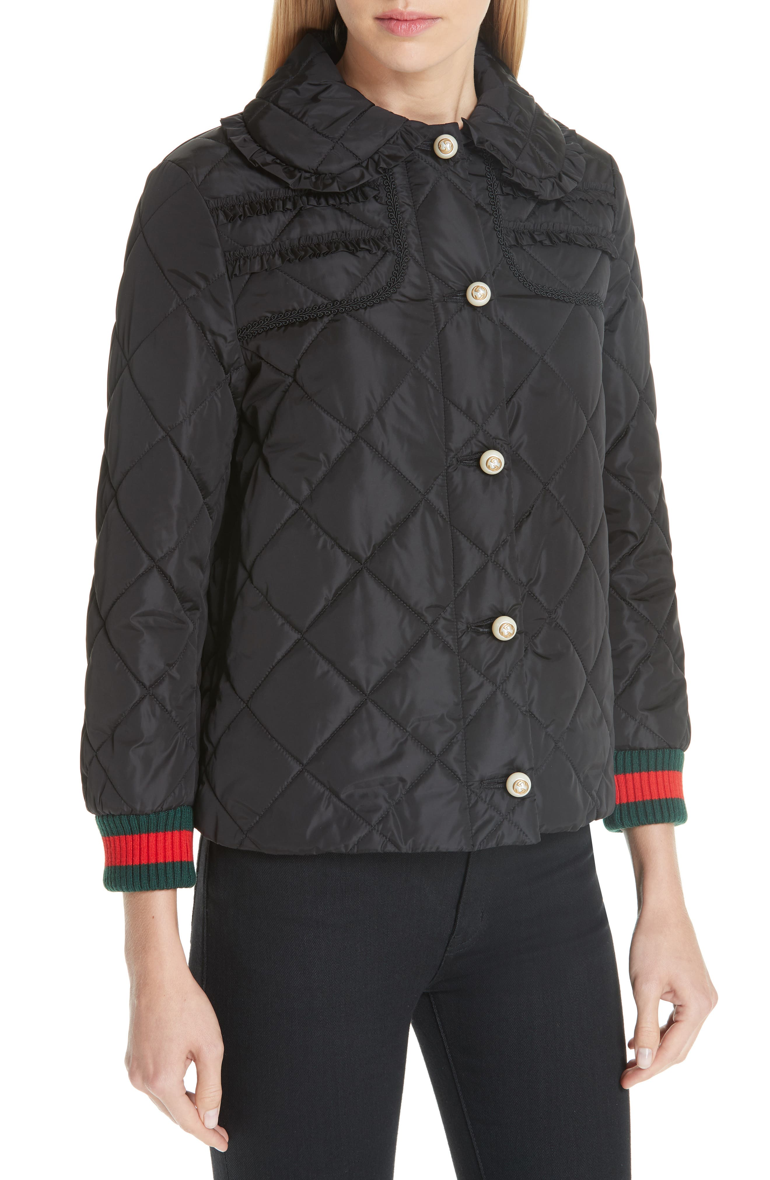 GUCCI, Ruffle Trim Quilted Caban, Alternate thumbnail 4, color, NERO