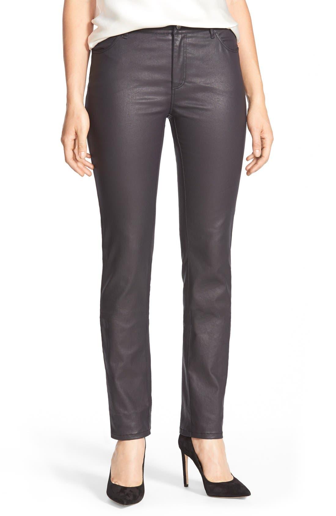 LAFAYETTE 148 NEW YORK, Waxed Denim Slim Leg Jeans, Main thumbnail 1, color, INK