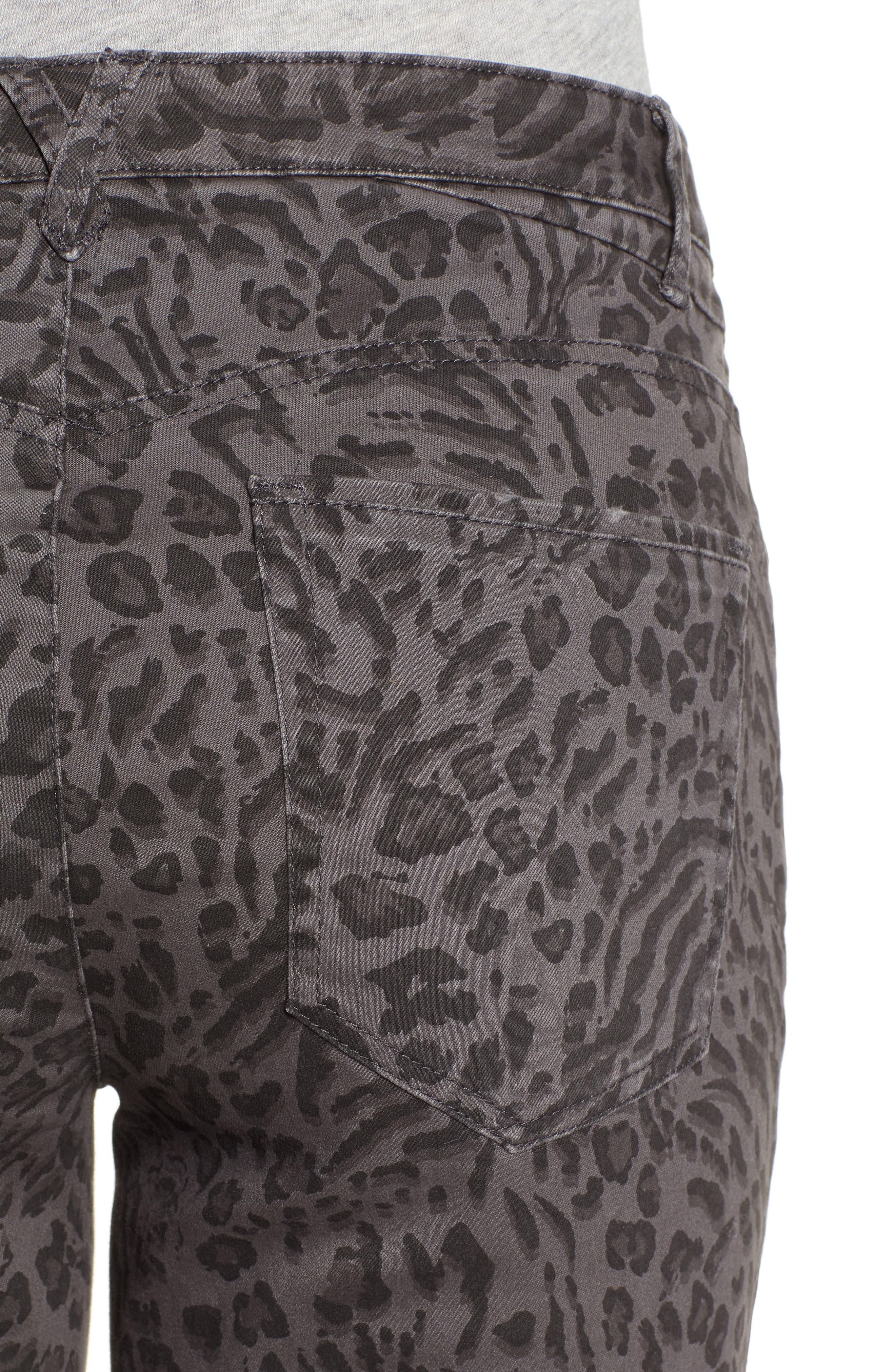 WIT & WISDOM, Ab-Solution Leopard Print High Waist Skinny Jeans, Alternate thumbnail 5, color, CHARCOAL