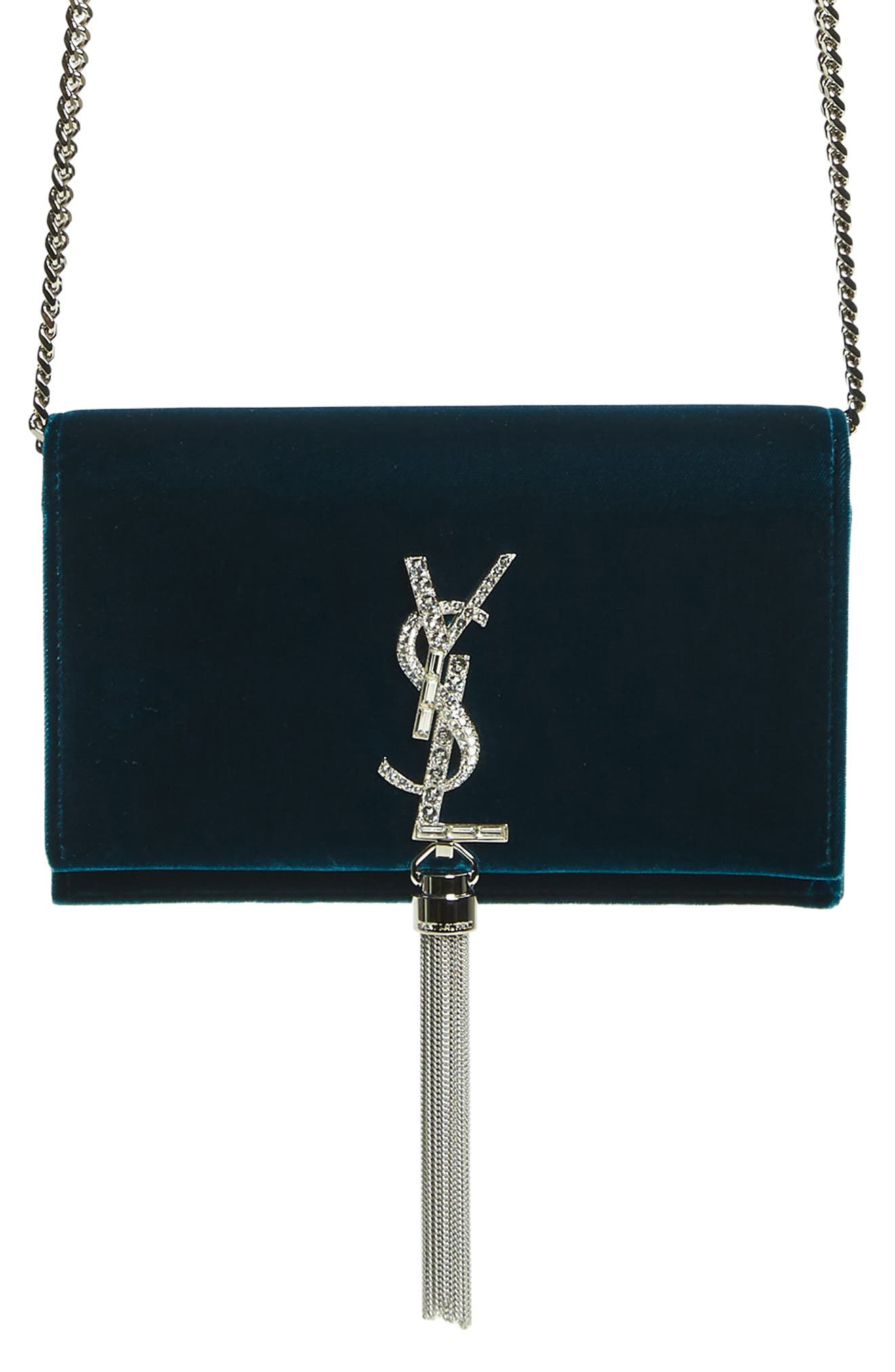 SAINT LAURENT, Small Kate Crystal Logo Wallet on a Chain, Alternate thumbnail 7, color, DARK DEEP SEA/ CRISTAL