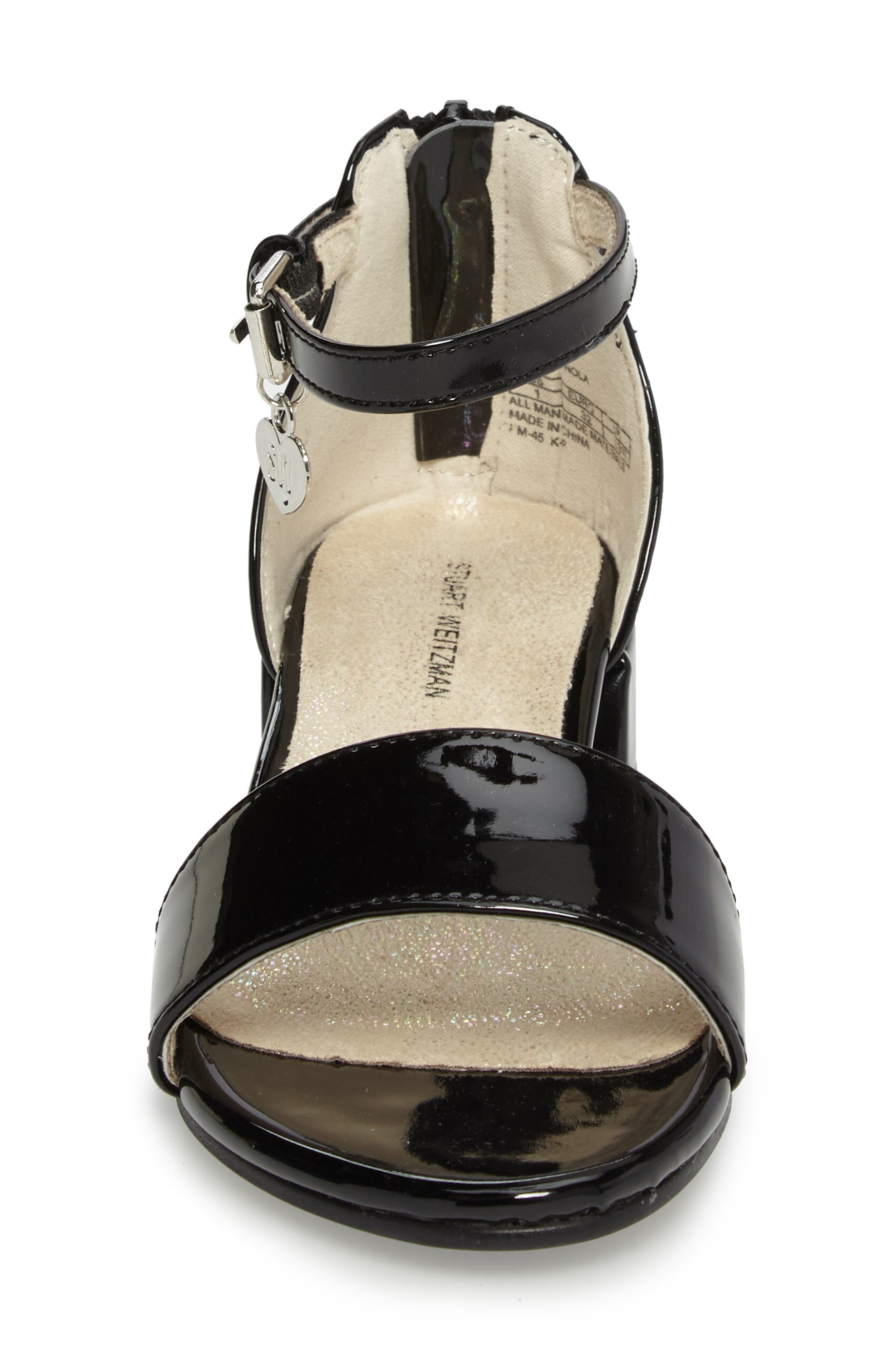 STUART WEITZMAN, Penelope Nola Sandal, Alternate thumbnail 4, color, BLACK FAUX PATENT