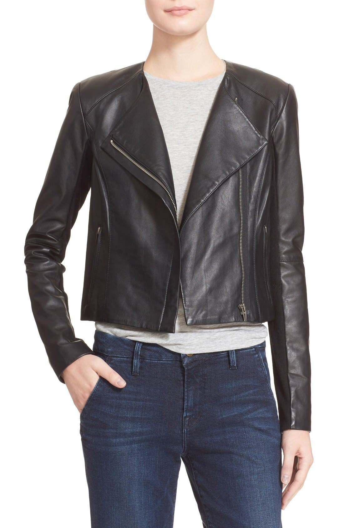 VEDA, 'Dali' Leather Jacket, Main thumbnail 1, color, 001