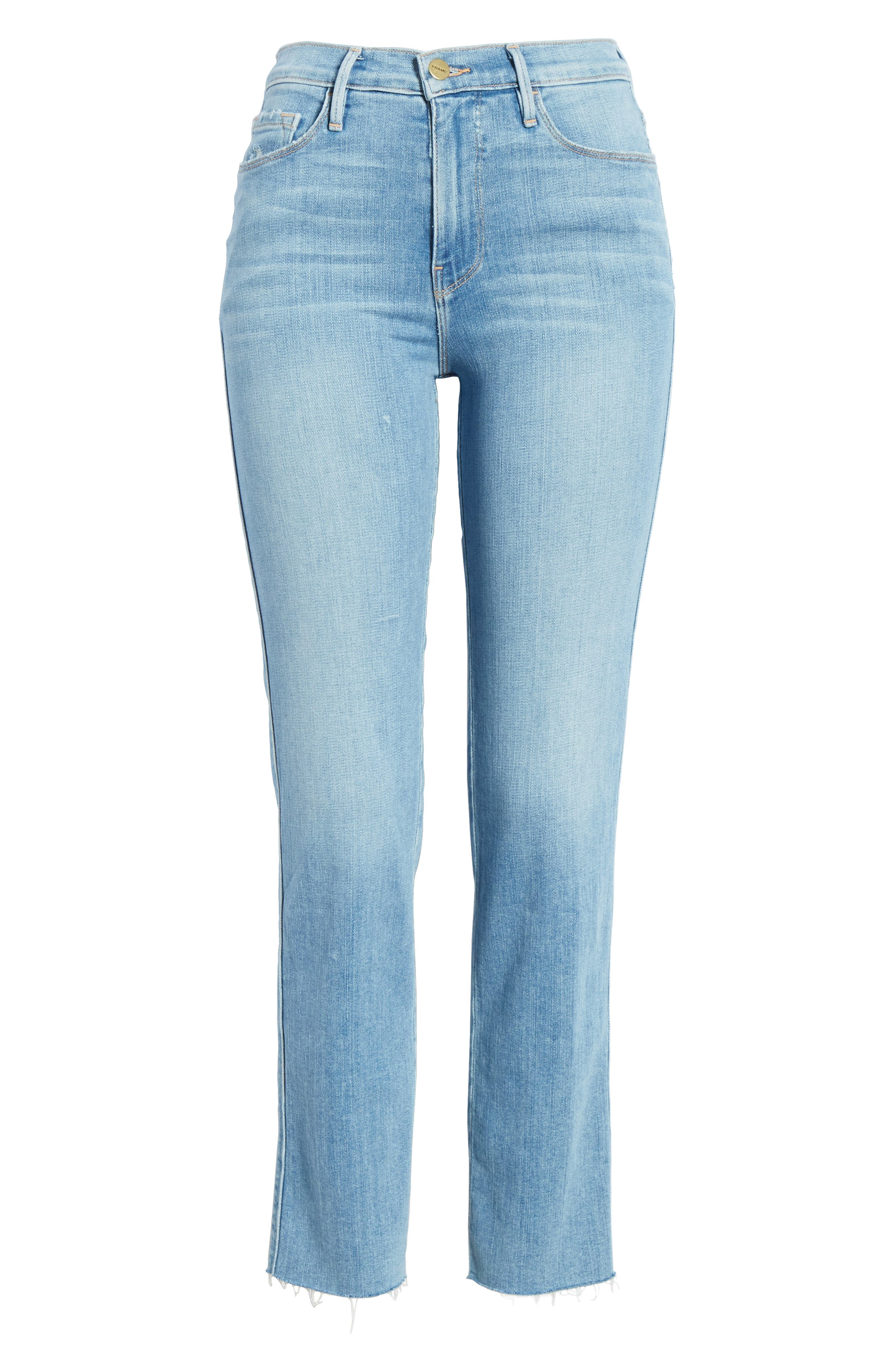 FRAME, Le Sylvie High Waist Raw Hem Straight Leg Jeans, Alternate thumbnail 7, color, OVERDRIVE