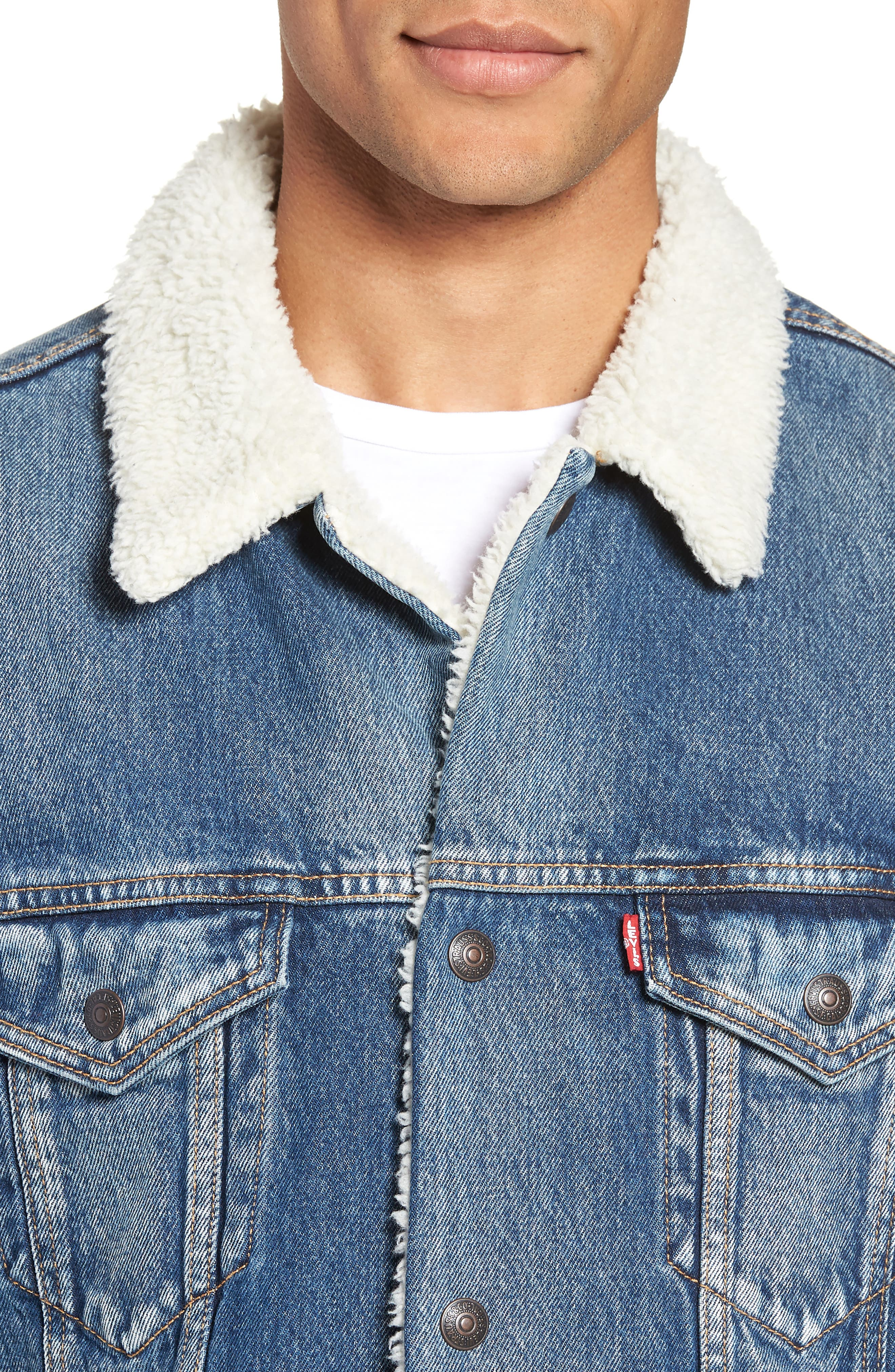 LEVI'S<SUP>®</SUP>, Long Faux Fur Lined Trucker Jacket, Alternate thumbnail 5, color, 420