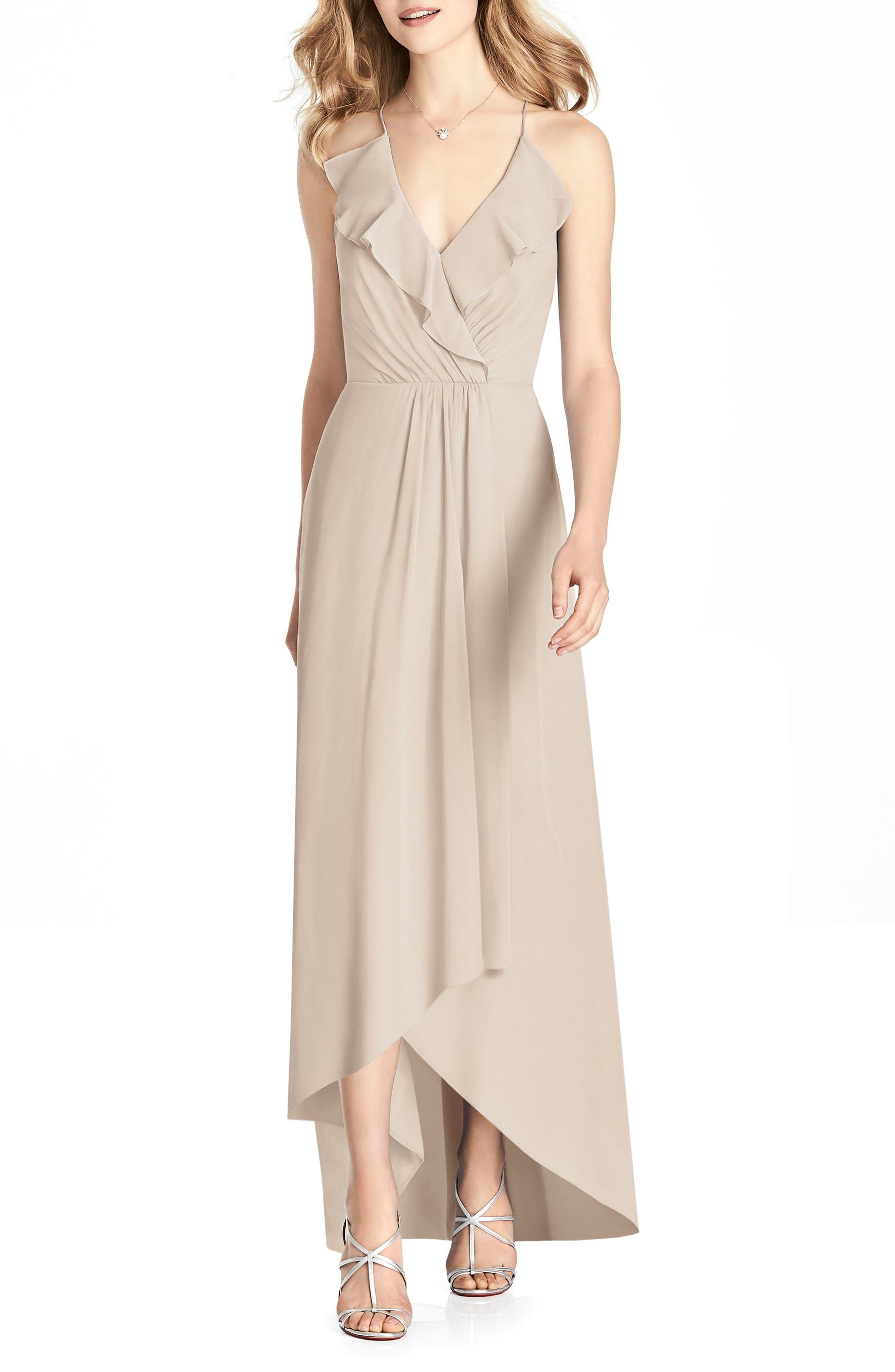 Jenny Packham Ruffle Neck Chiffon Gown, Beige