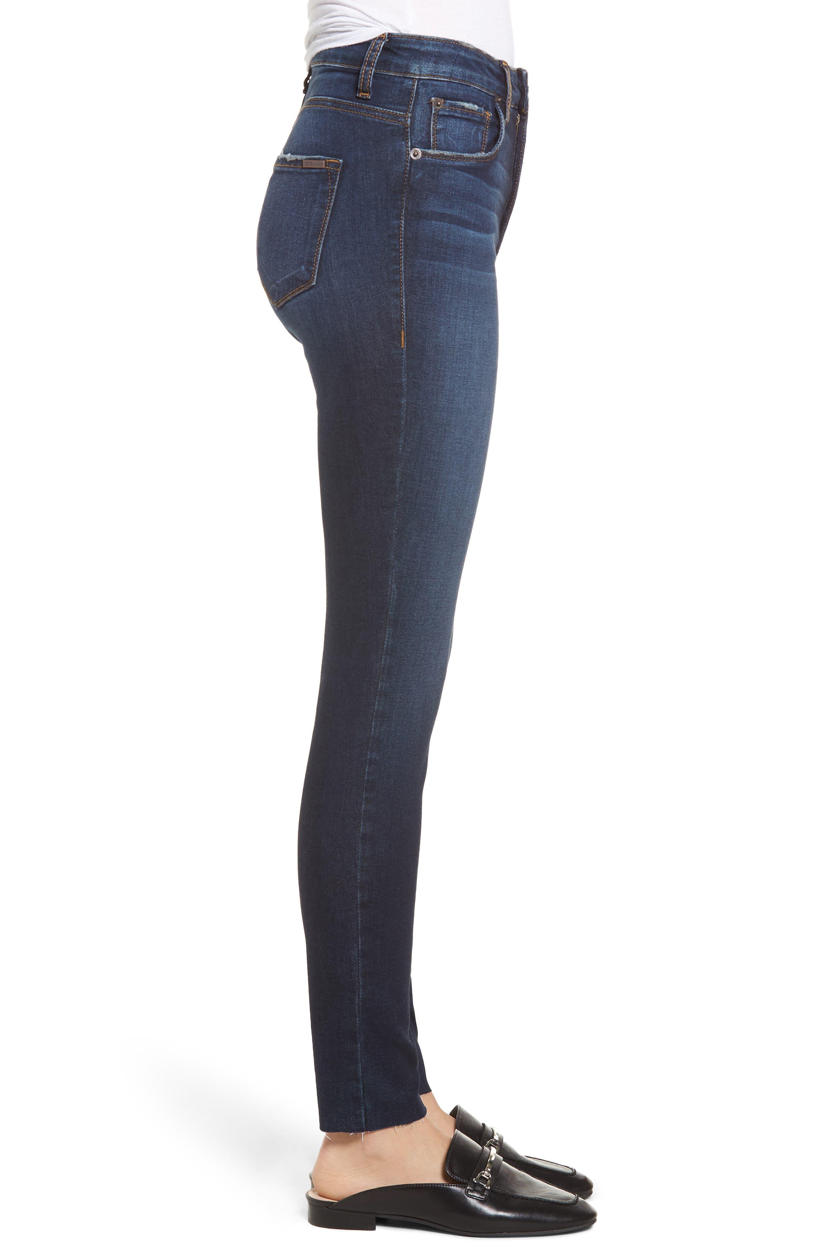 STS BLUE, Ellie High Waist Ankle Skinny Jeans, Alternate thumbnail 4, color, DENLEY