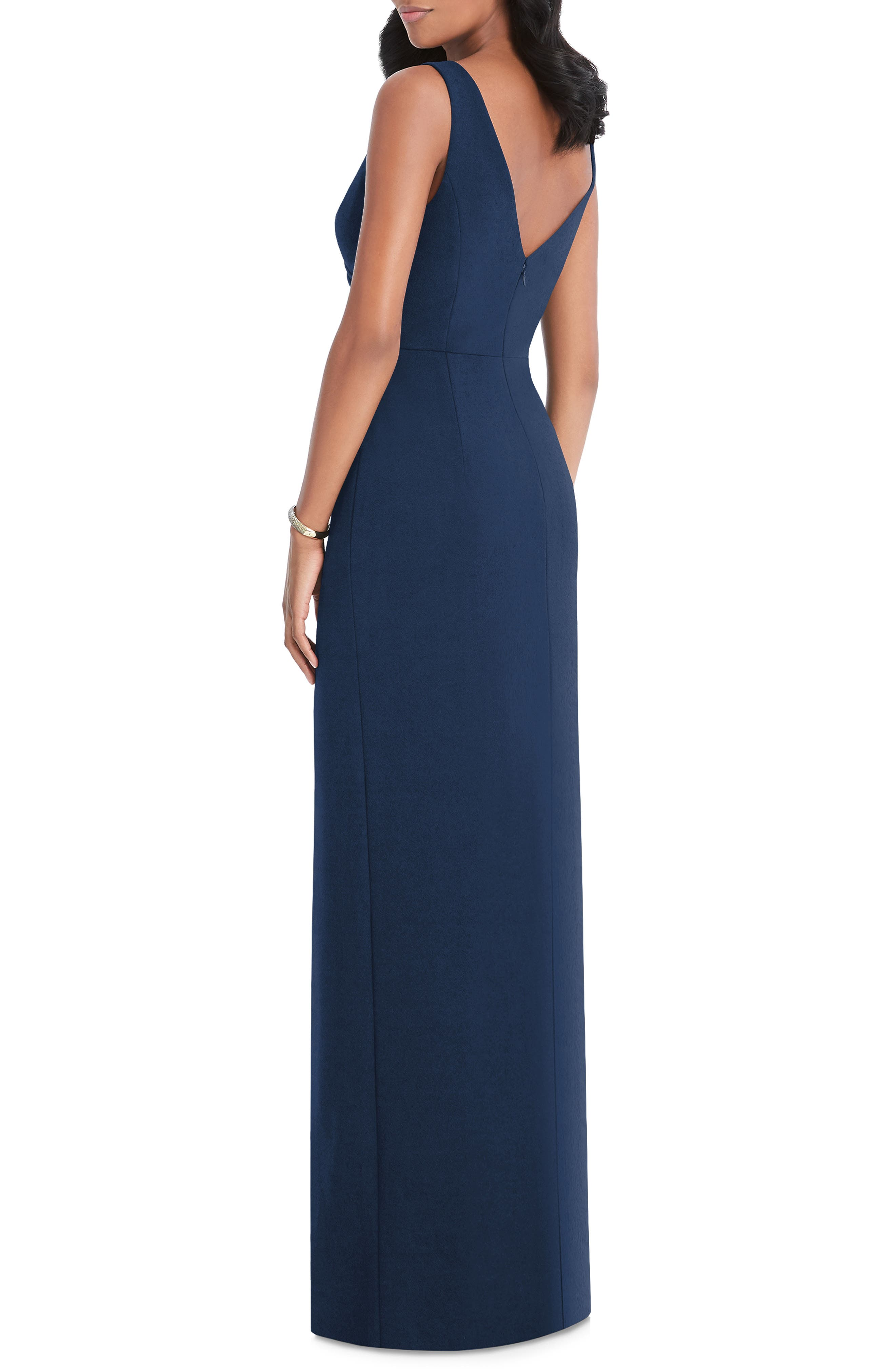 AFTER SIX, Pleated Surplice Stretch Crepe Gown, Alternate thumbnail 2, color, MIDNIGHT