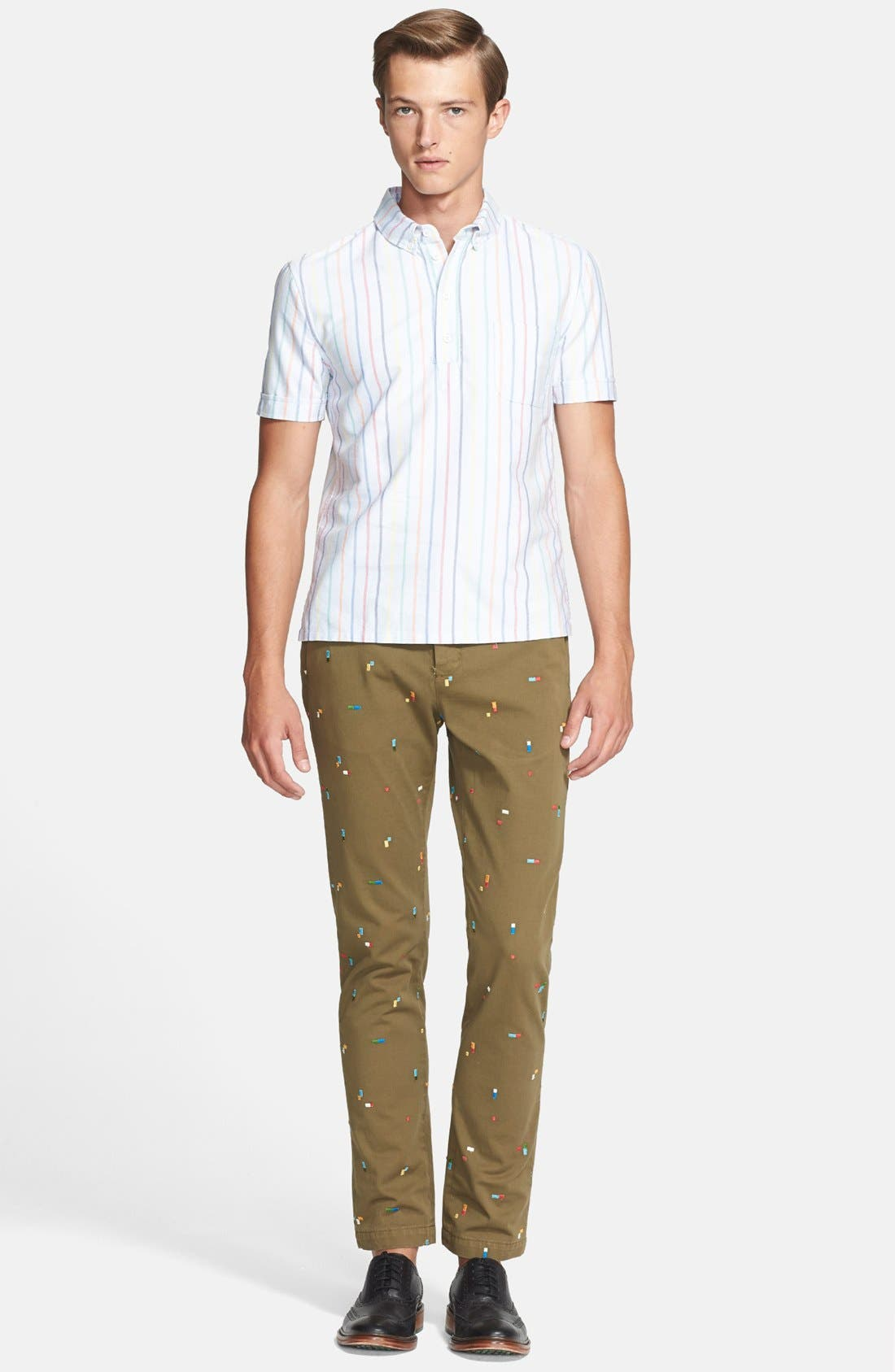 BAND OF OUTSIDERS, Slim Fit Embroidered Chinos, Alternate thumbnail 6, color, 411