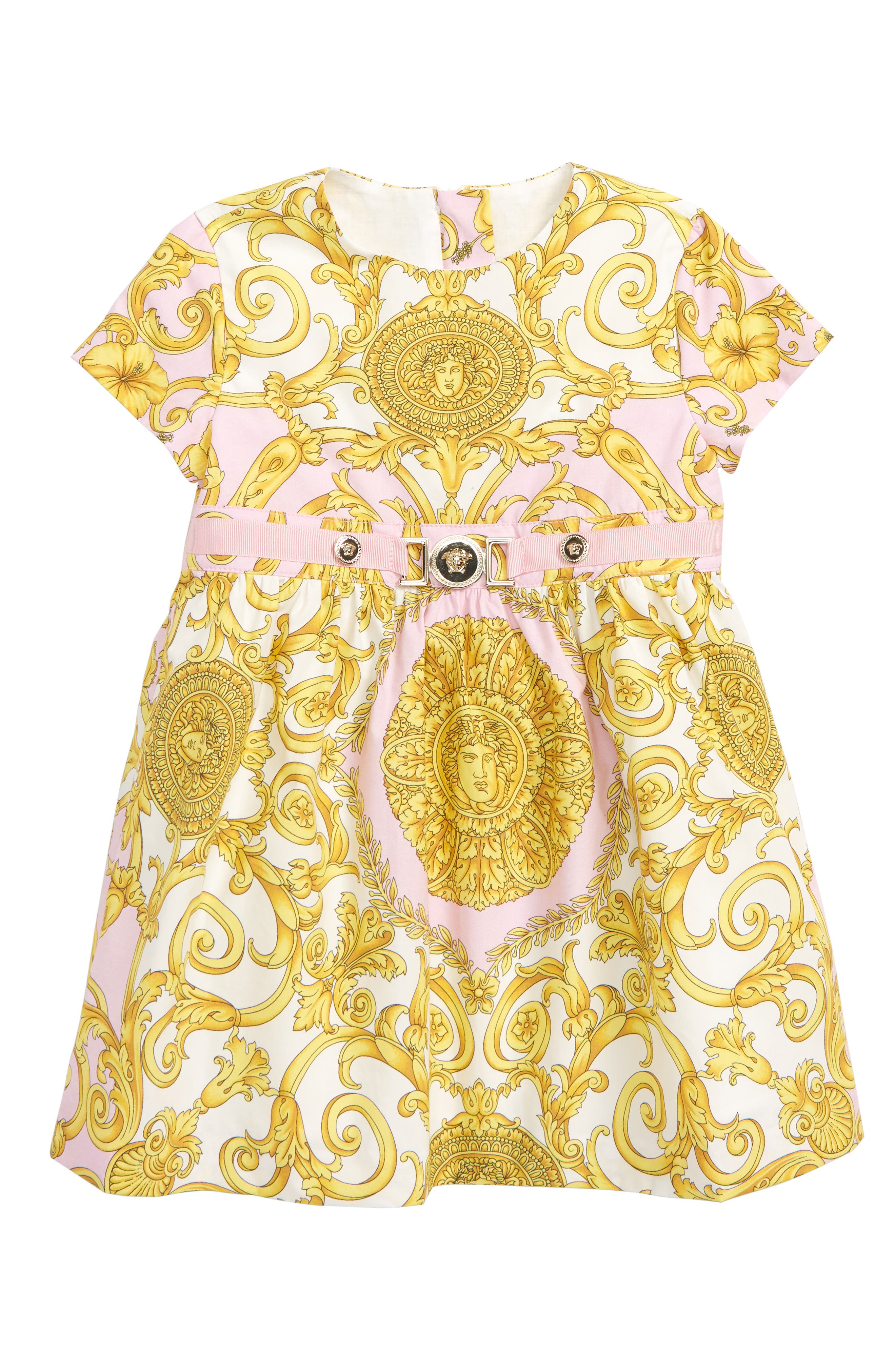 VERSACE, Barocco Print Fit & Flare Dress, Main thumbnail 1, color, PINK/ GOLD