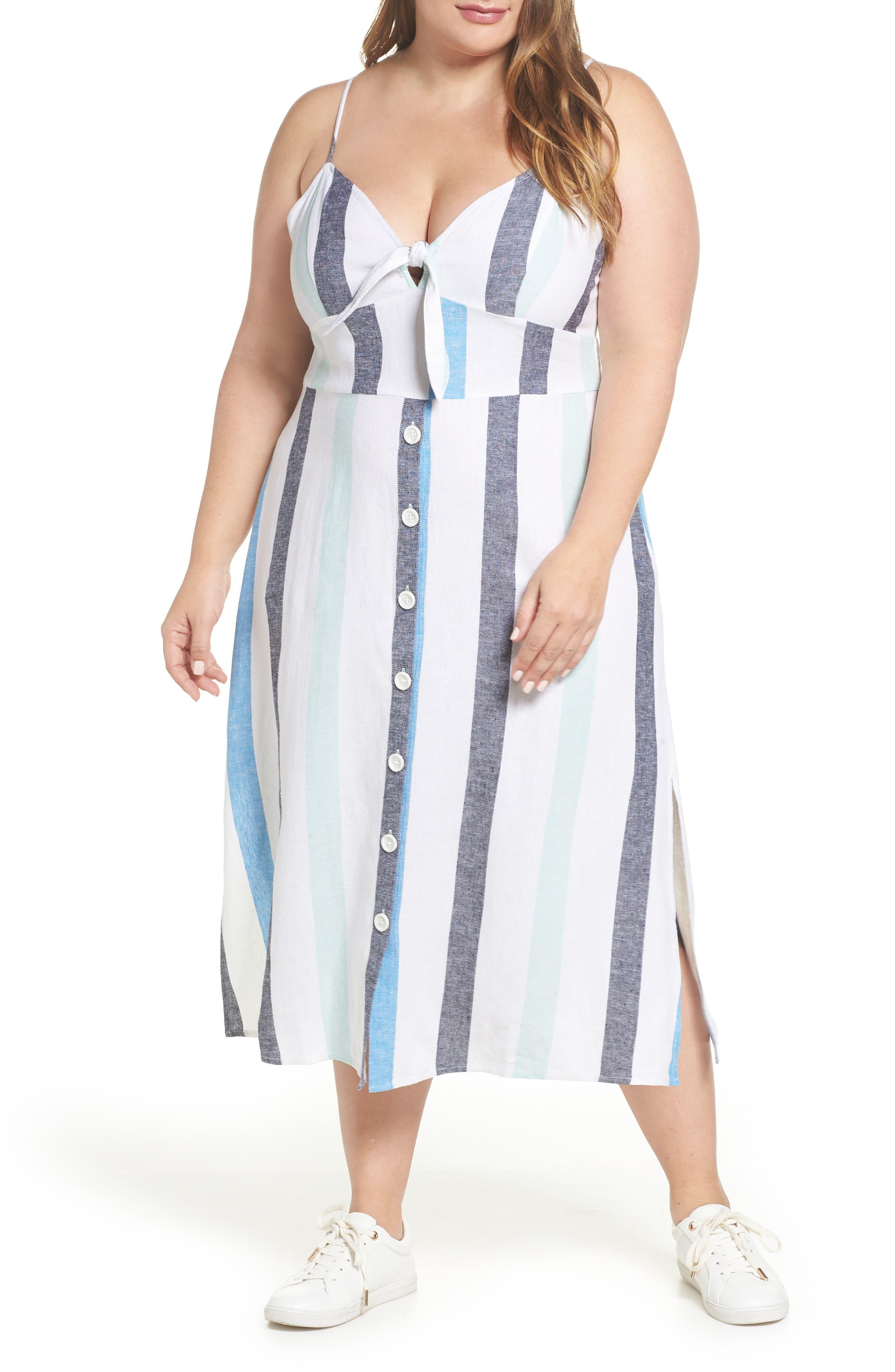 BP., Stripe Sundress, Alternate thumbnail 2, color, BLUE PLACID LACY STRIPE