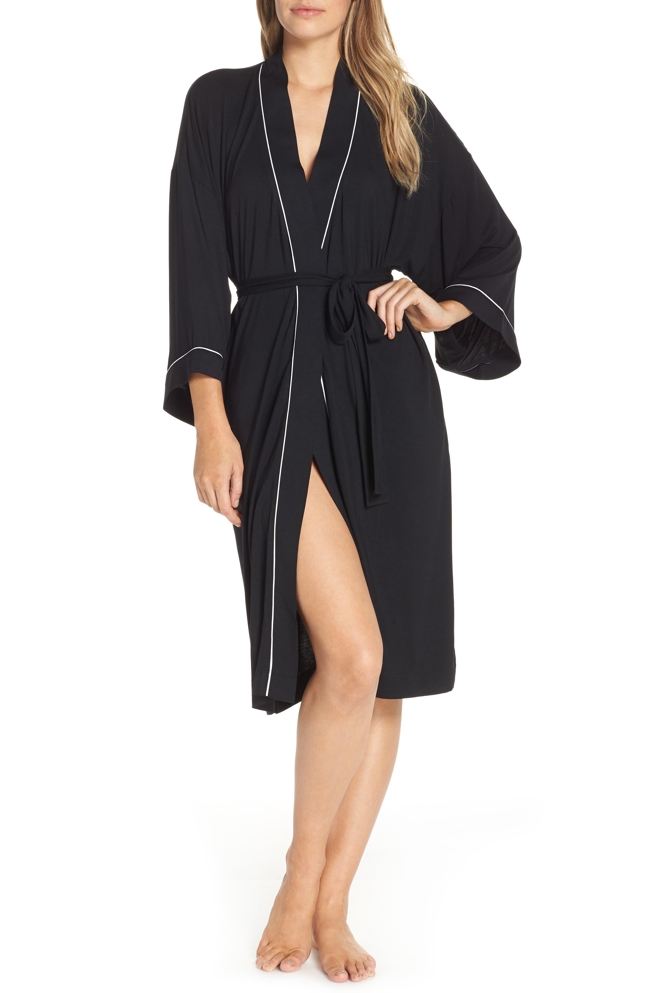 NORDSTROM LINGERIE, Moonlight Jersey Robe, Main thumbnail 1, color, 001