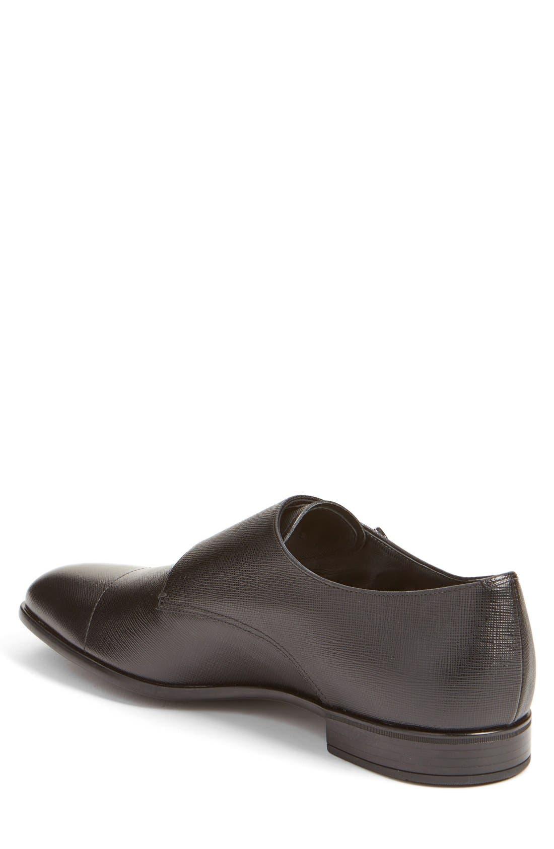 PRADA, Double Monk Strap Shoe, Alternate thumbnail 3, color, NERO LEATHER