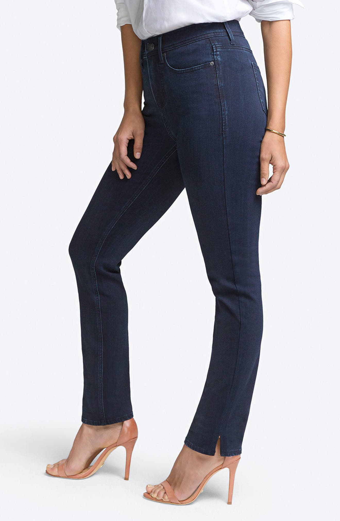CURVES 360 BY NYDJ, Slim Straight Leg Jeans, Alternate thumbnail 4, color, BOWEN