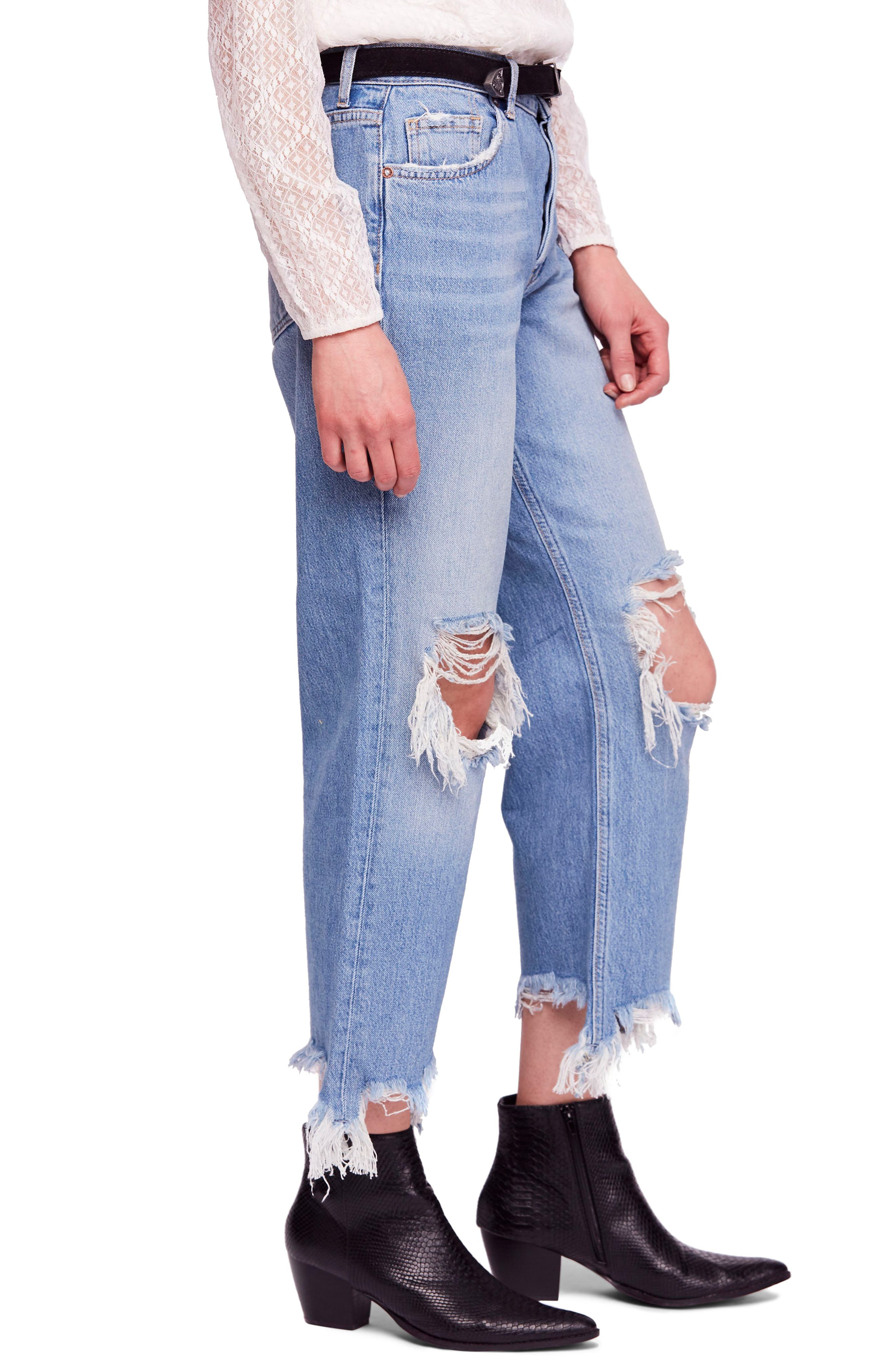 FREE PEOPLE, We the Free by Free People Maggie Ripped Crop Straight Leg Jeans, Alternate thumbnail 4, color, 456