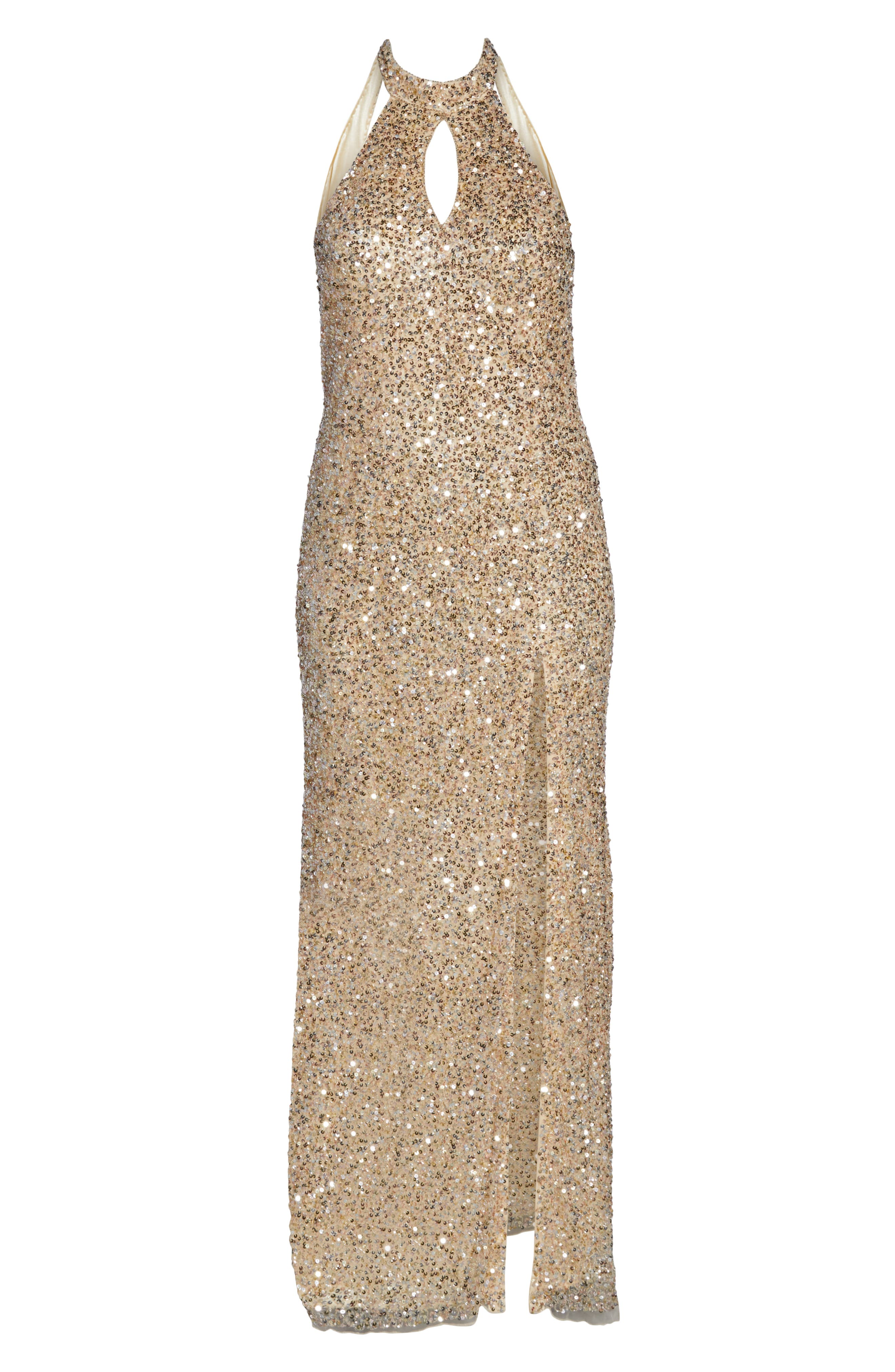MAC DUGGAL, Sequin Mesh Evening Dress, Alternate thumbnail 7, color, NUDE GOLD
