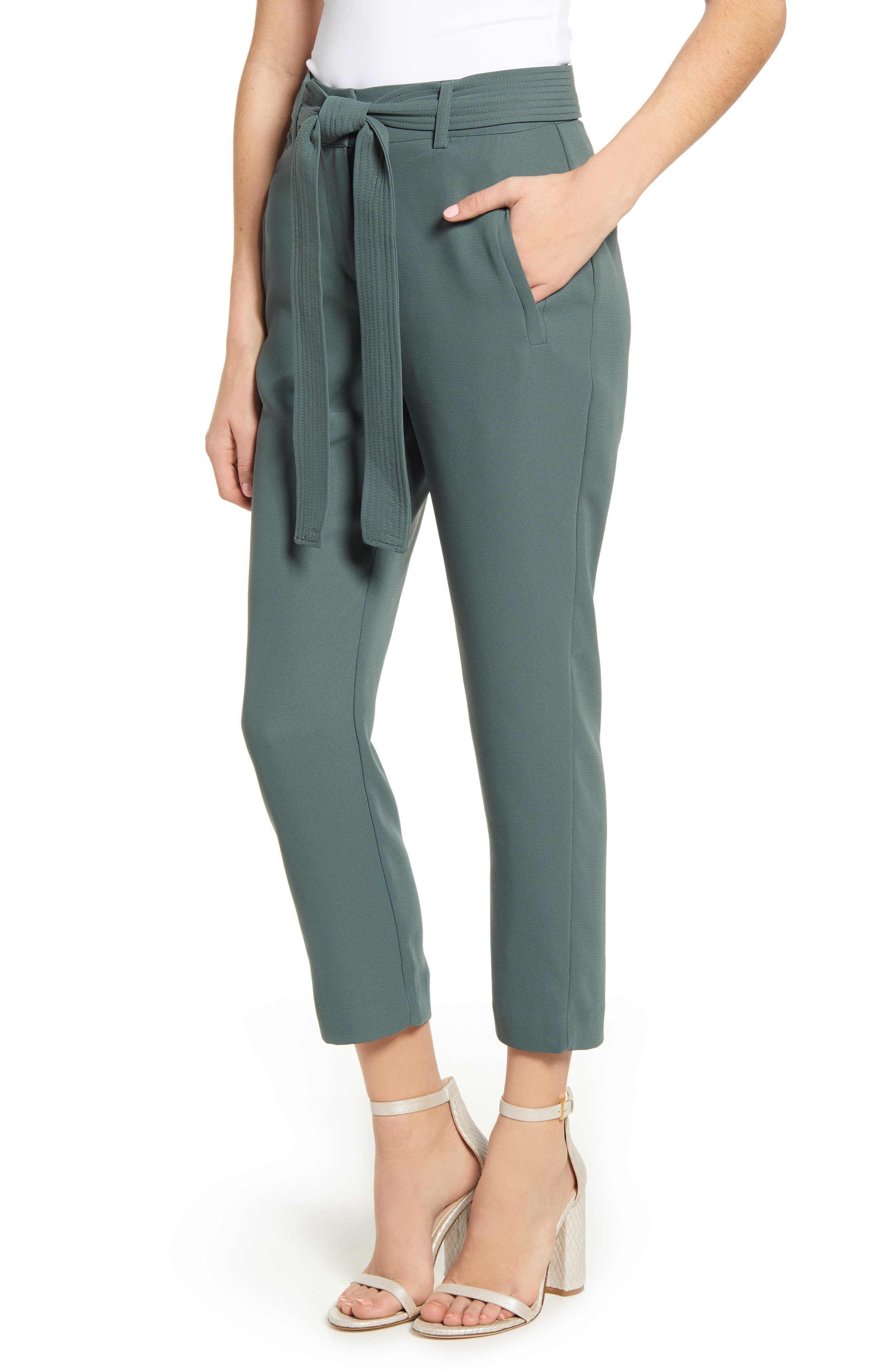 CHELSEA28, Tie Waist Ankle Pants, Main thumbnail 1, color, GREY URBAN