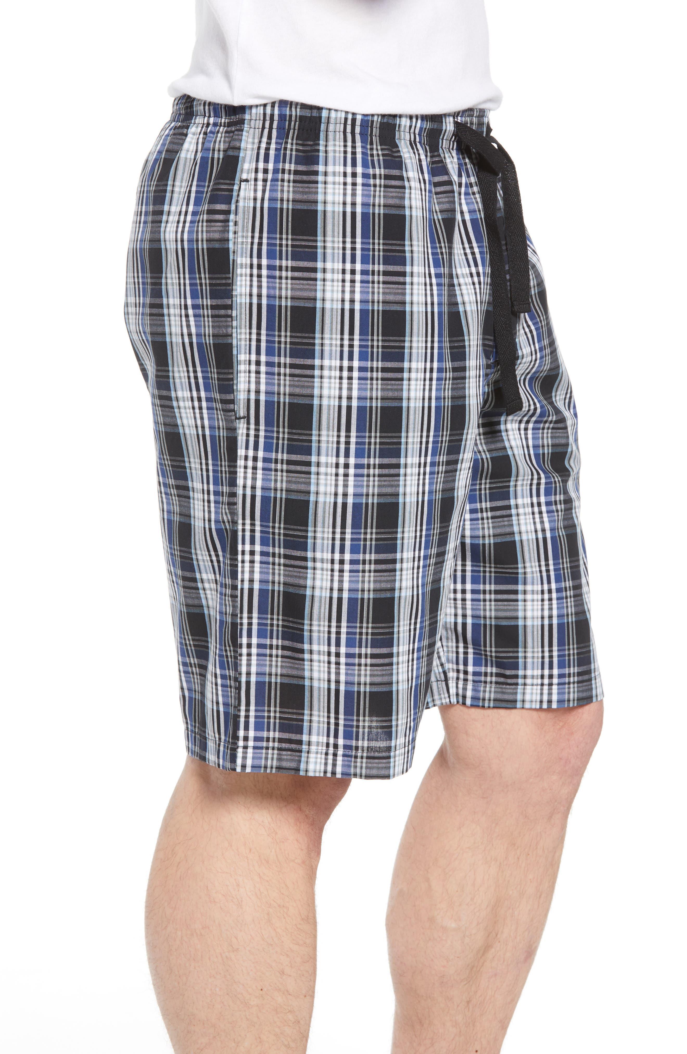 NORDSTROM MEN'S SHOP, Poplin Lounge Shorts, Alternate thumbnail 3, color, BLACK TWILIGHT BLUE PLAID