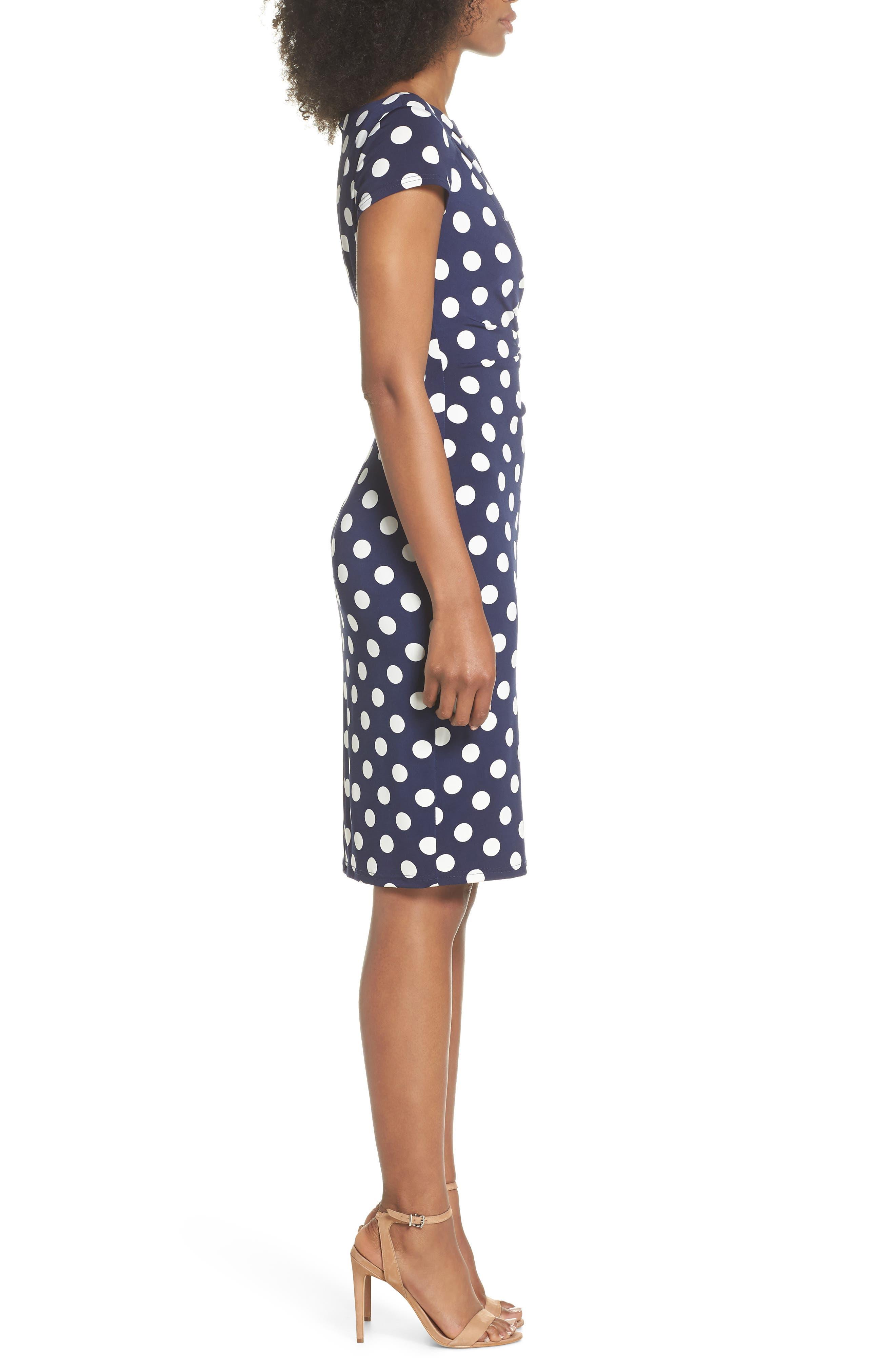 ELIZA J, Polka Dot Side Twist Sheath Dress, Alternate thumbnail 4, color, NAVY/ IVORY