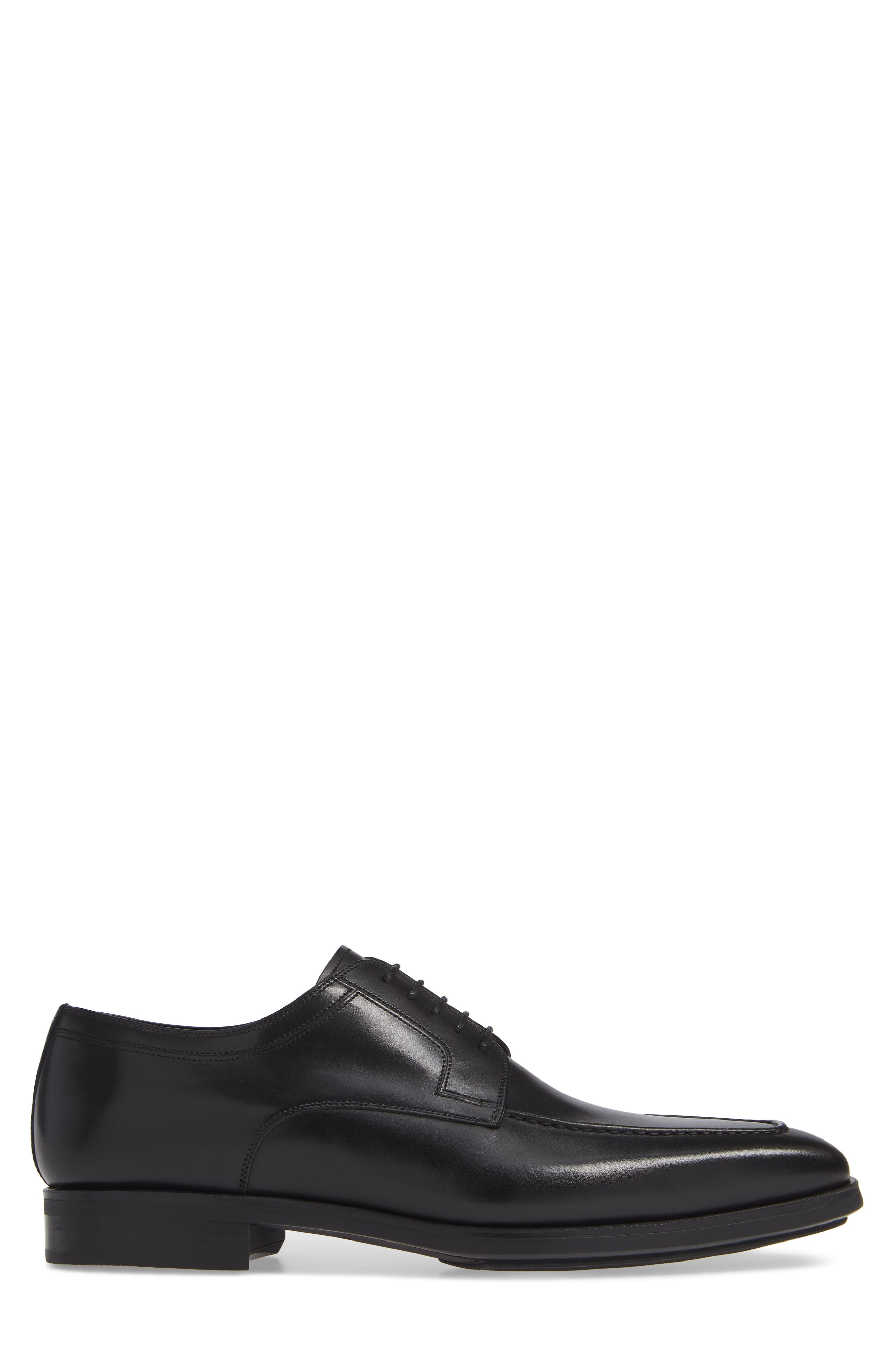 MAGNANNI, Romelo Diversa Apron Toe Derby, Alternate thumbnail 3, color, BLACK LEATHER