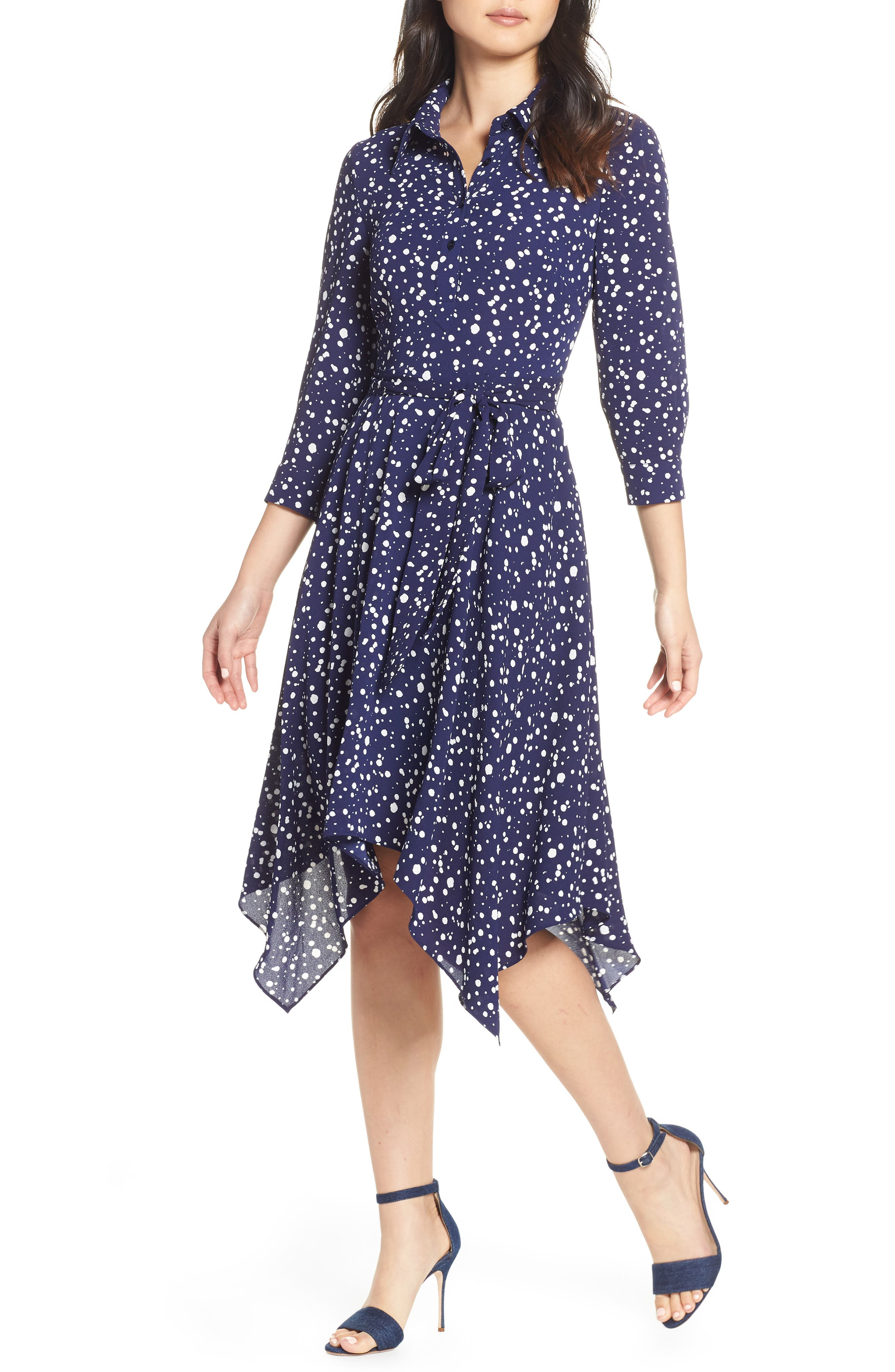 ELIZA J, Handkerchief Hem Midi Dress, Main thumbnail 1, color, 410