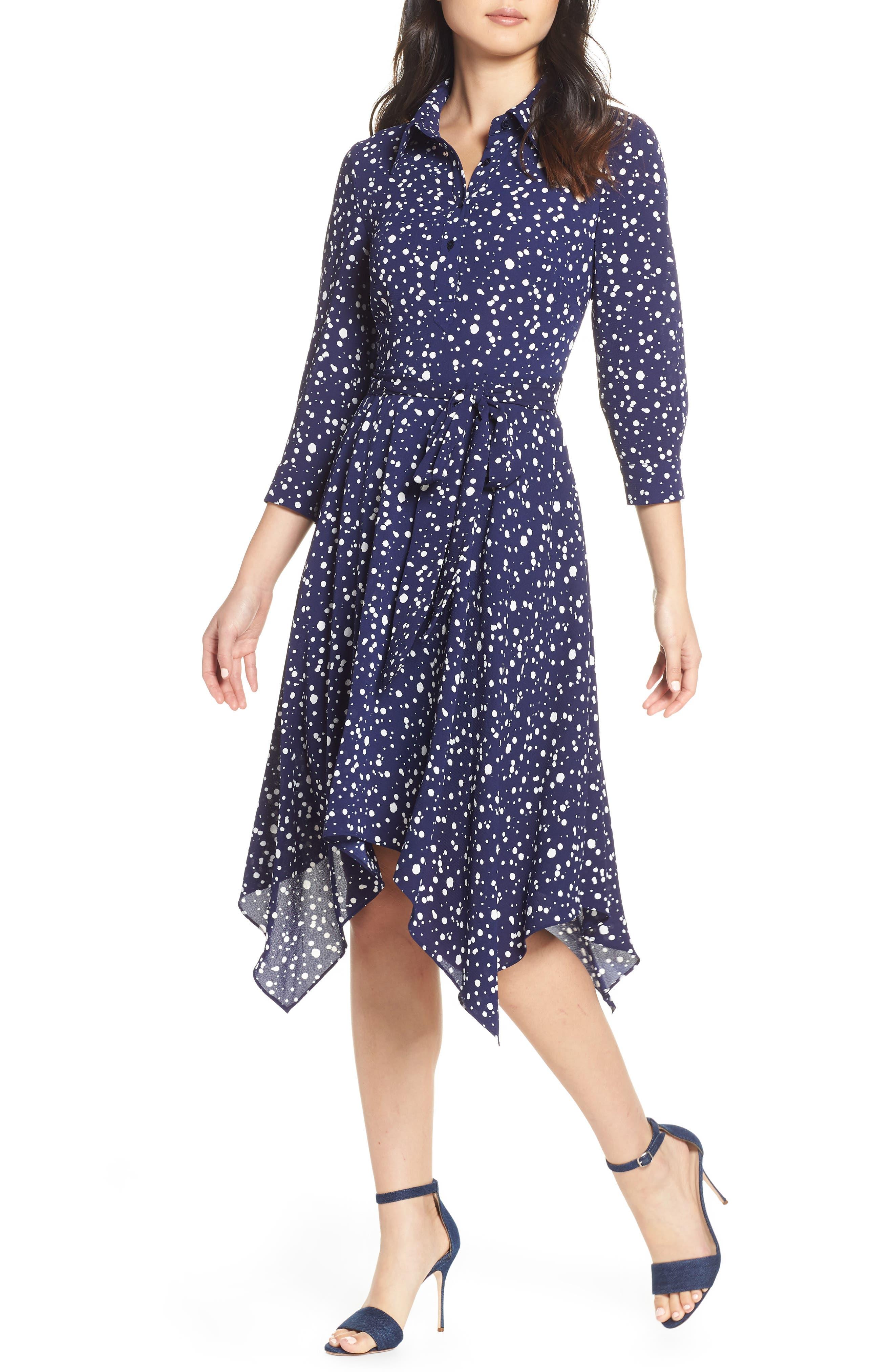ELIZA J Handkerchief Hem Midi Dress, Main, color, 410