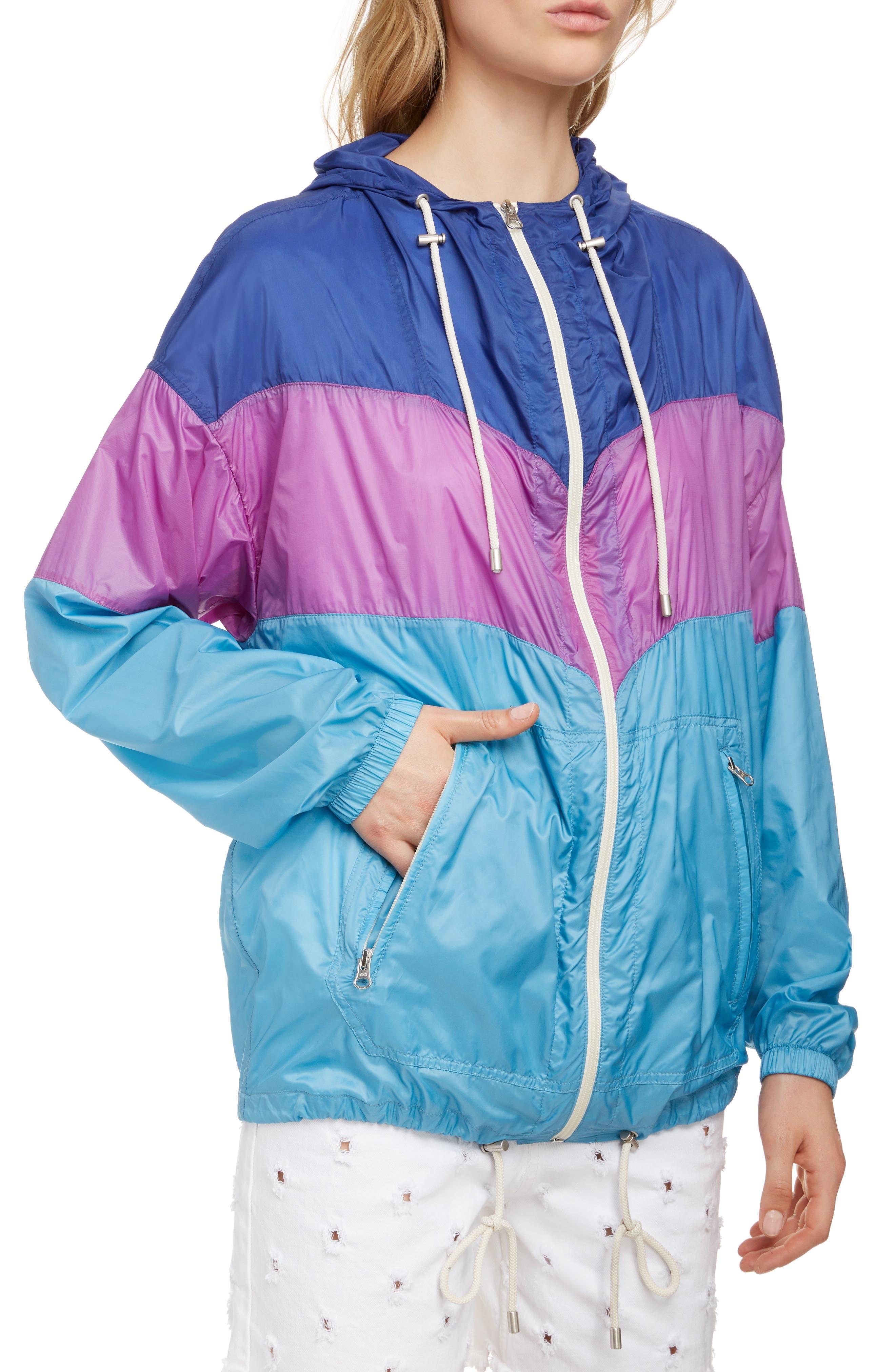 ISABEL MARANT ÉTOILE, Kyriel Colorblock Hooded Jacket, Alternate thumbnail 5, color, ELECTRIC BLUE/ VIOLET