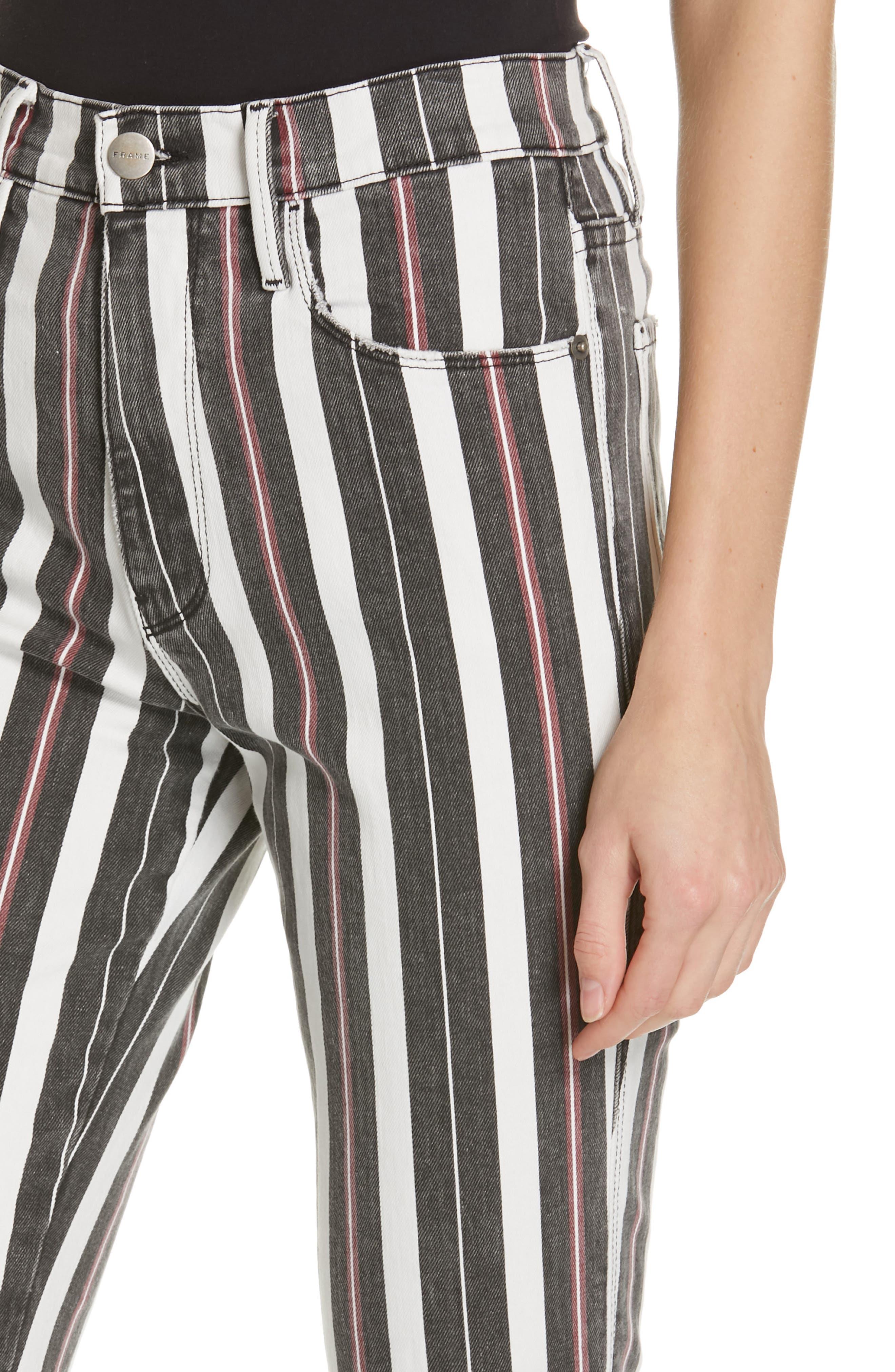 FRAME, Le Sylvie Band Stripe Straight Leg Jeans, Alternate thumbnail 4, color, BAND STRIPE