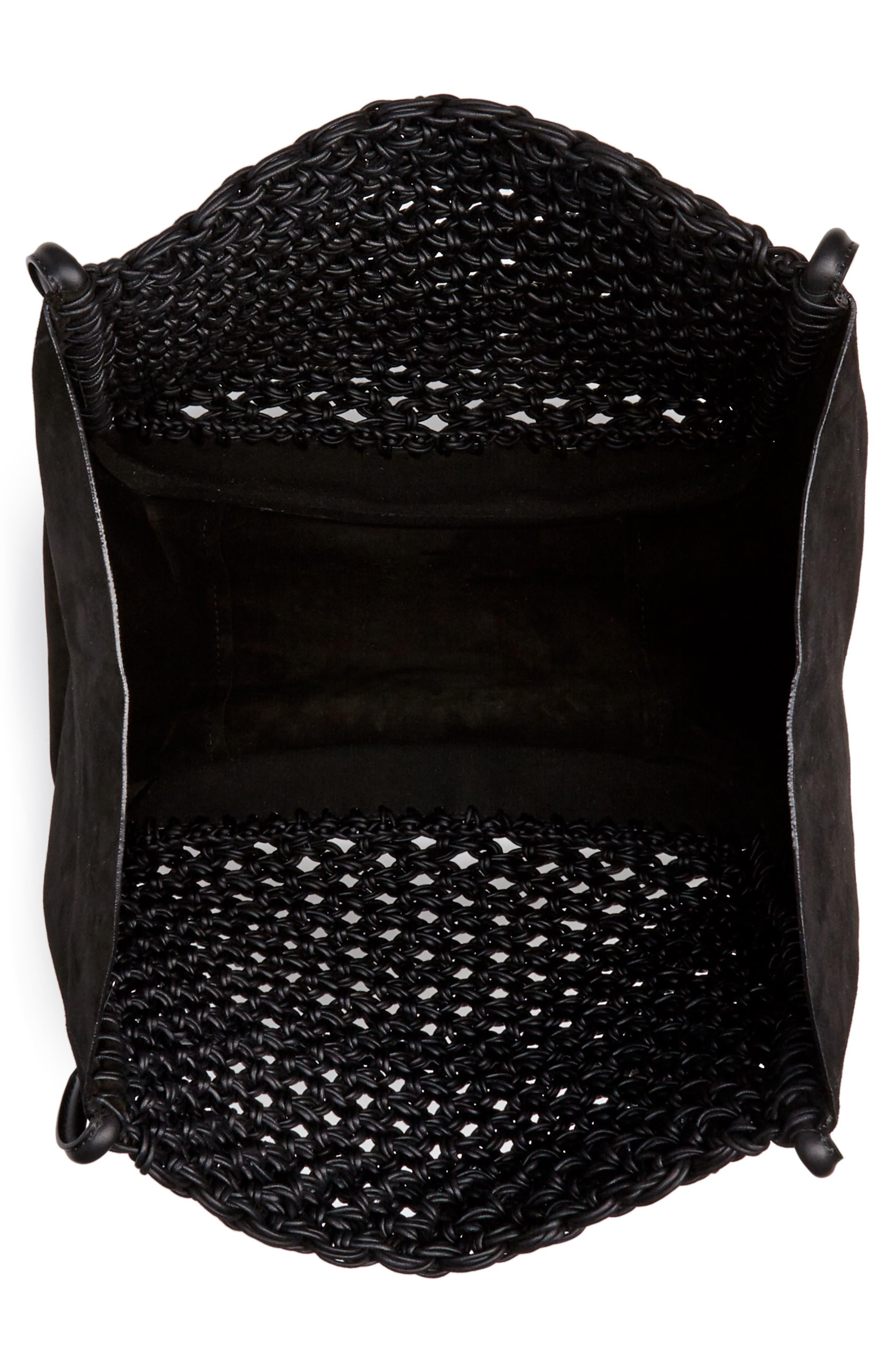 PROENZA SCHOULER, Large Macramé Tote, Alternate thumbnail 4, color, BLACK/ BLACK